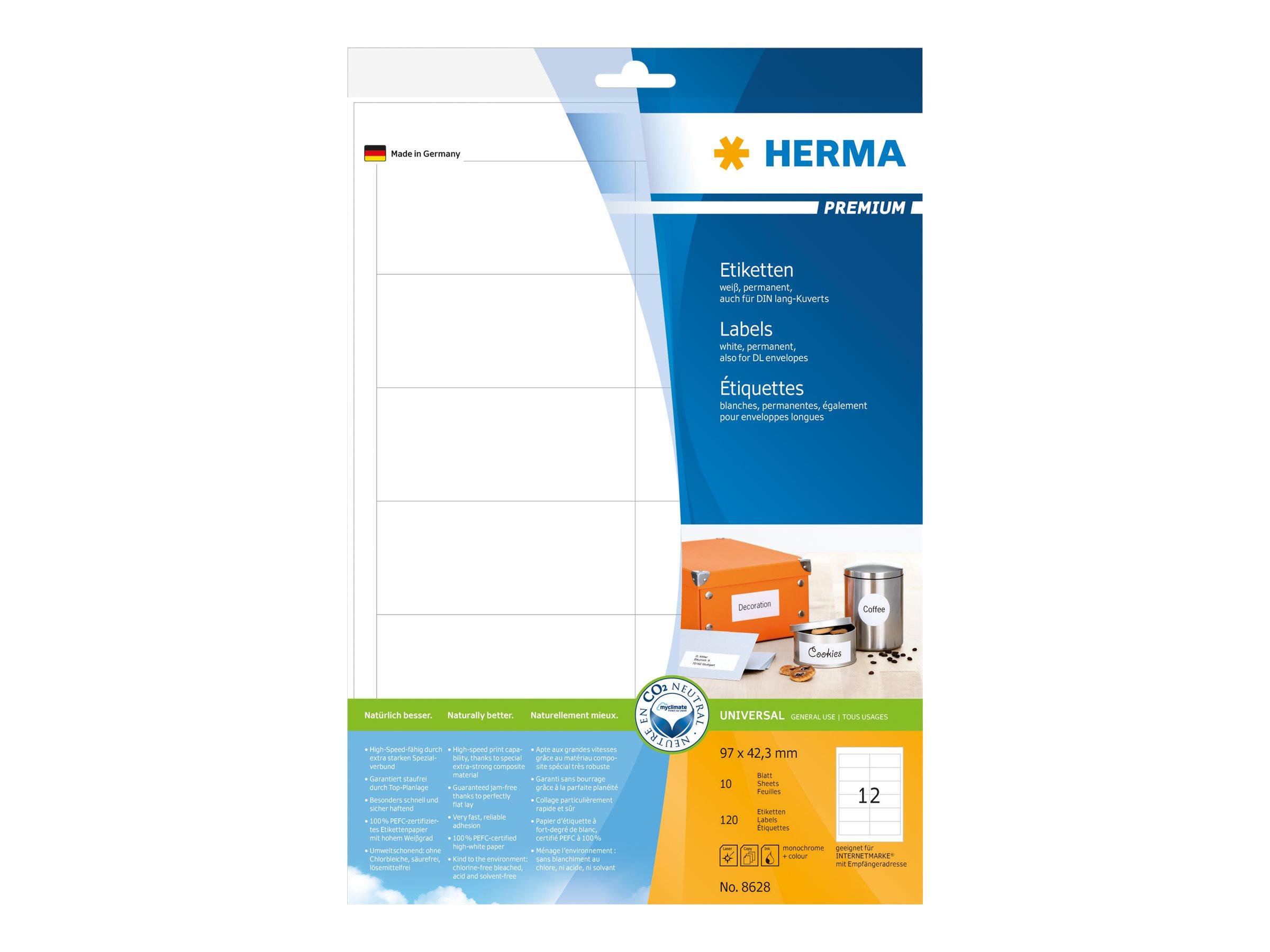 HERMA Premium - Papier - matt - permanent selbstklebend - weiß - 97 x 42.3 mm 120 Etikett(en) (10 Bogen x 12)