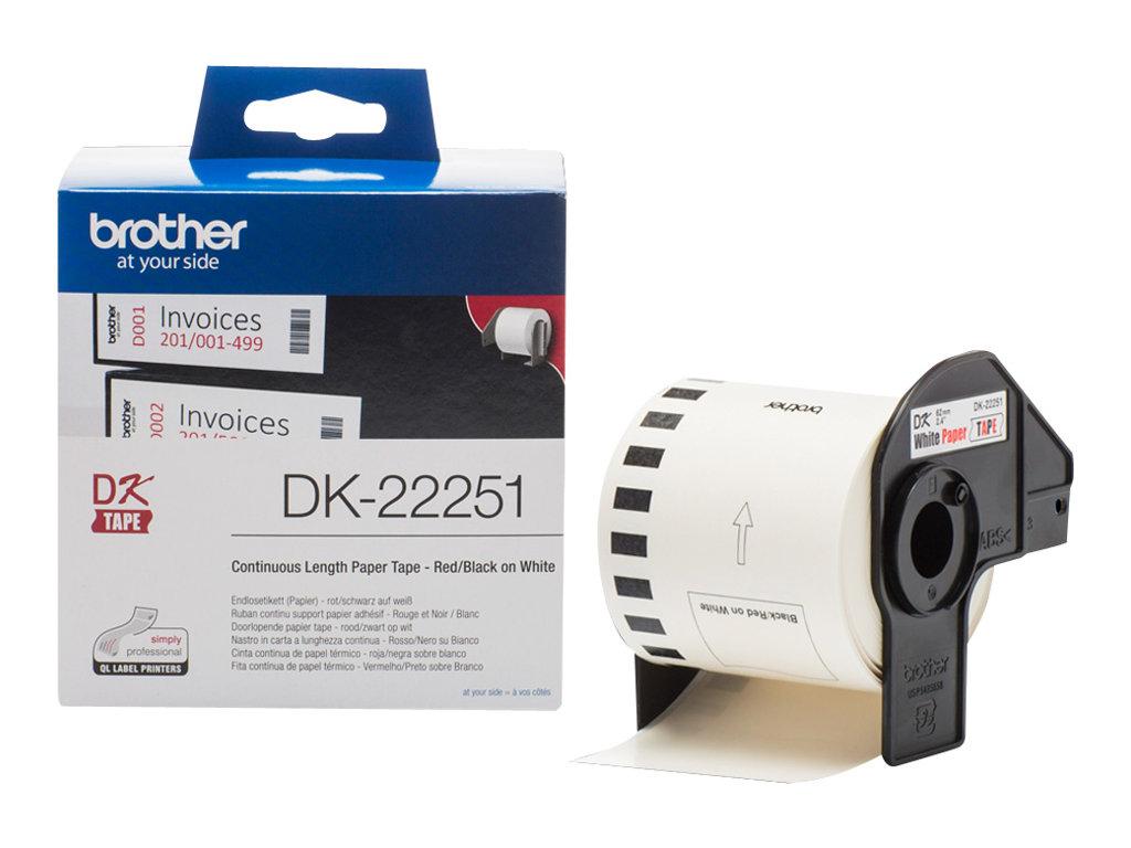 Brother DK-22251 - Schwarz/Rot auf Weiß - Rolle (6,2 cm x 15,24 m)