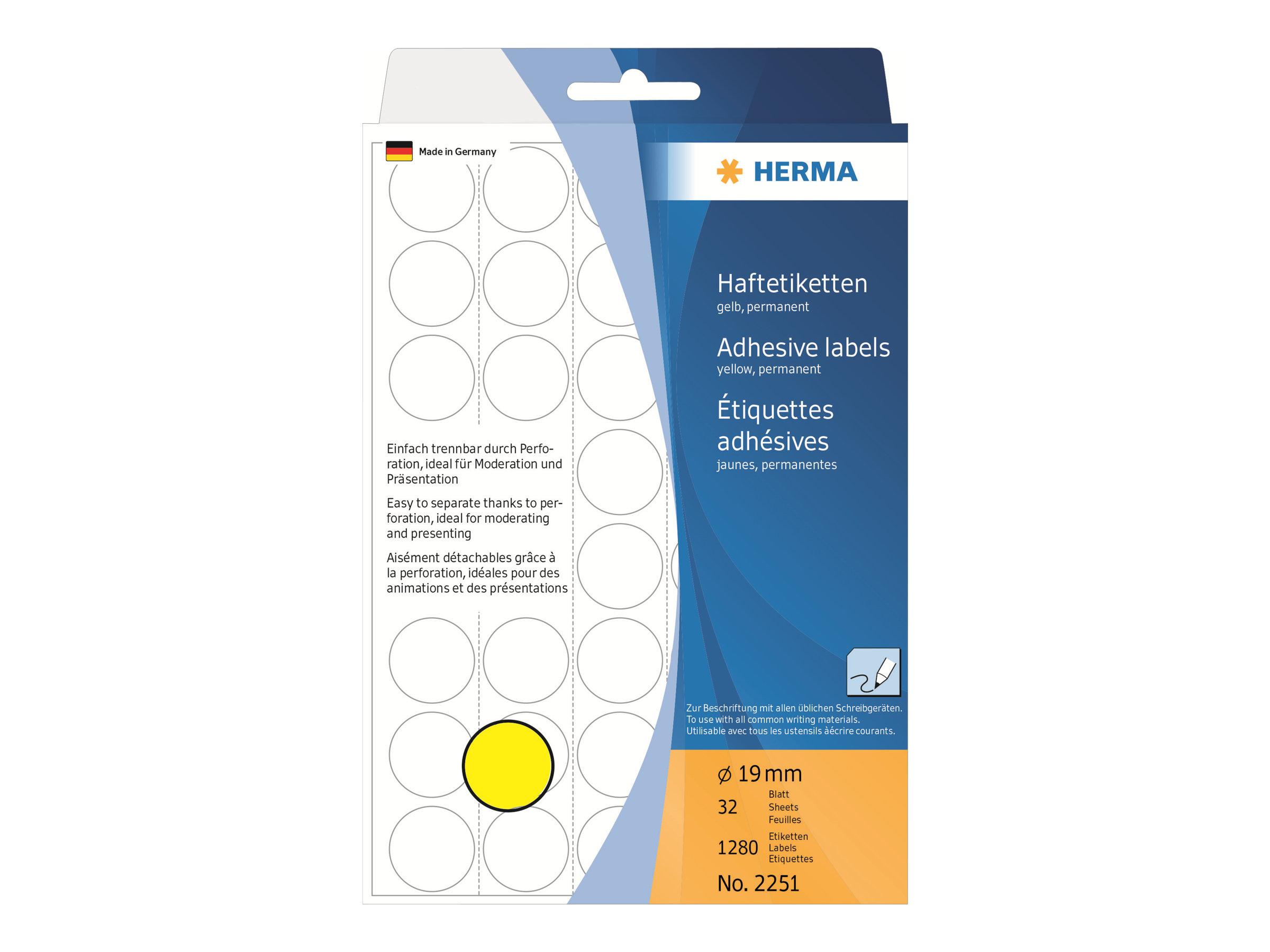 HERMA Papier - matt - permanenter Klebstoff - Gelb - 19 mm rund 1280 Etikett(en) (32 Bogen x 40)