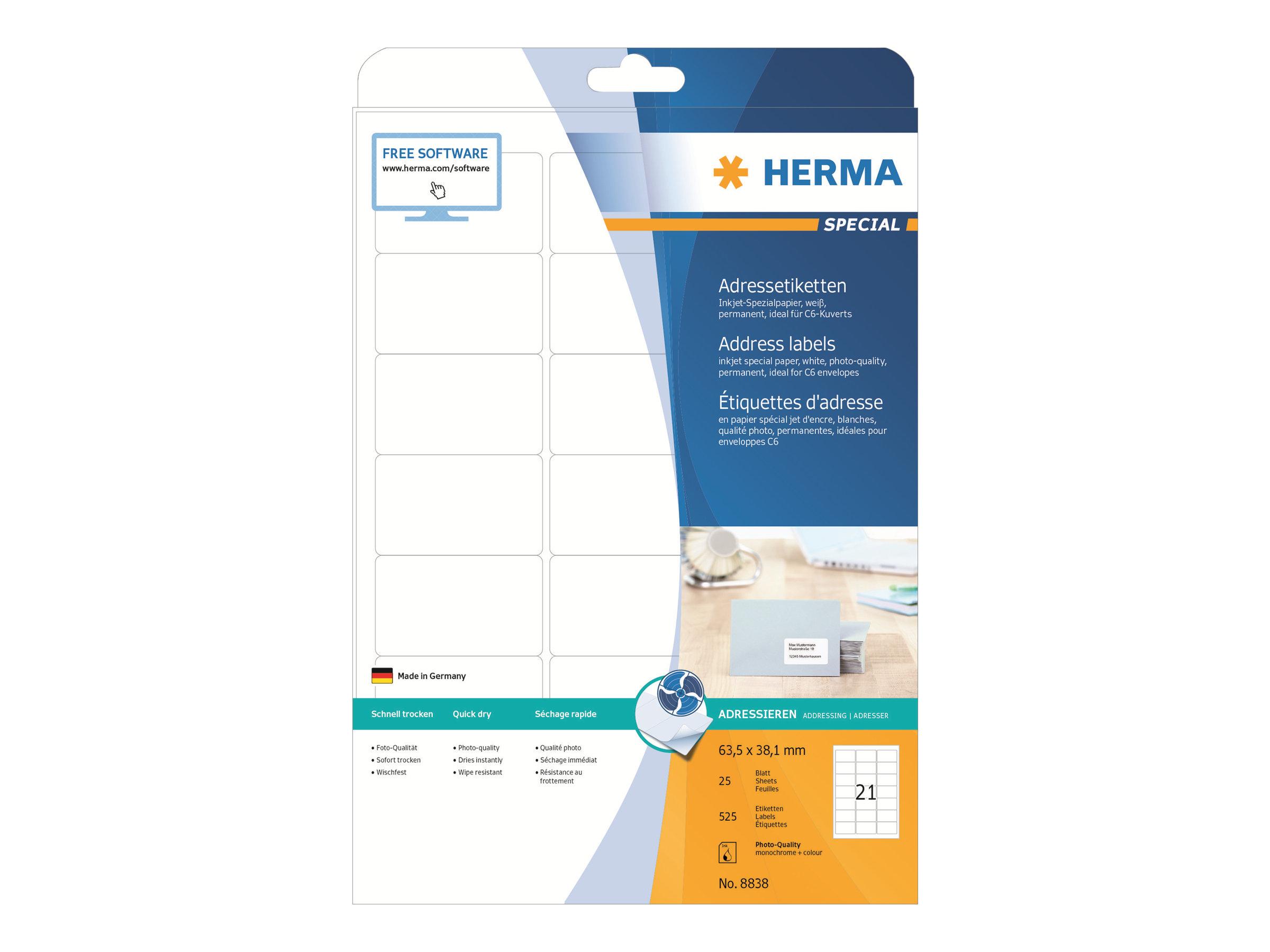 HERMA Special - Papier - matt - permanent selbstklebend - beschichtet - weiß - 63.5 x 38.1 mm - 90 g/m² - 525 Etikett(en) (25 Bogen x 21)