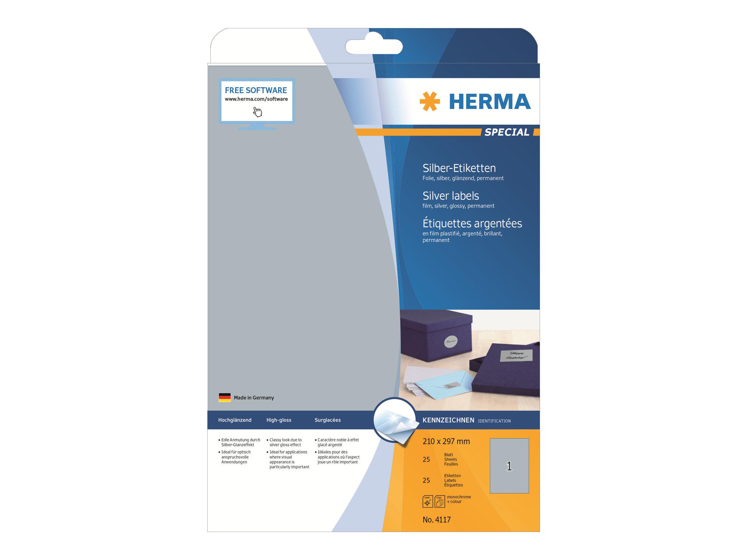 HERMA Special - Polyester - glänzend - permanent selbstklebend - Silber - A4 (210 x 297 mm)