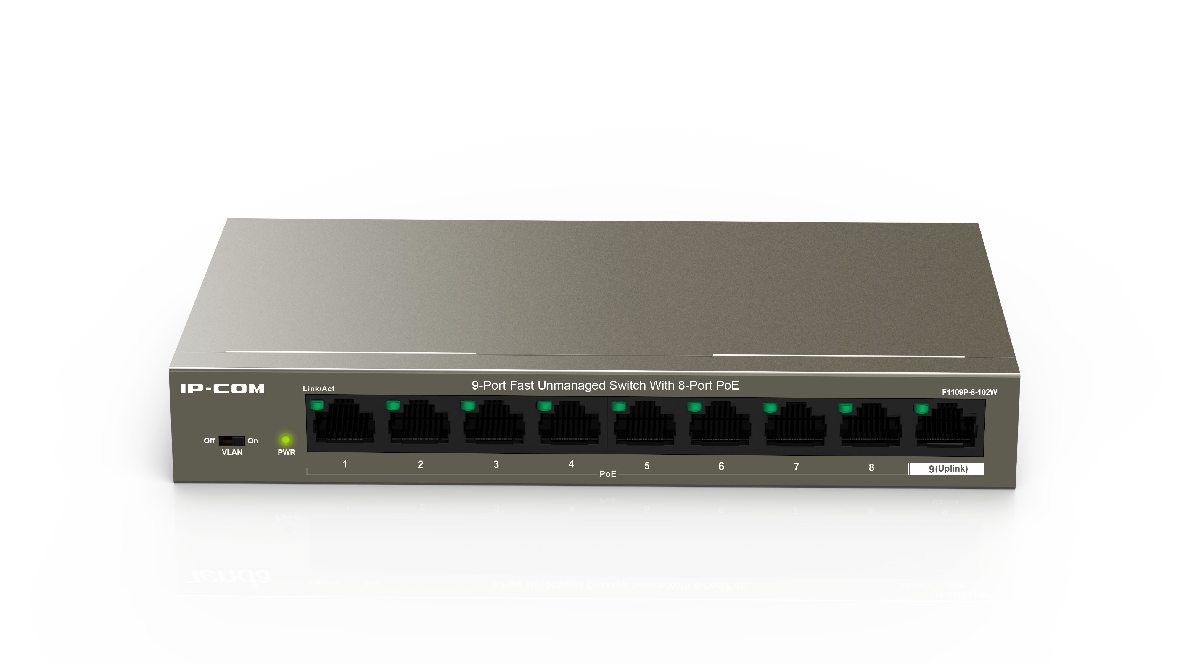 IP-COM F1109P-8-102W - Unmanaged - Fast Ethernet (10/100) - Power over Ethernet (PoE) - Wandmontage