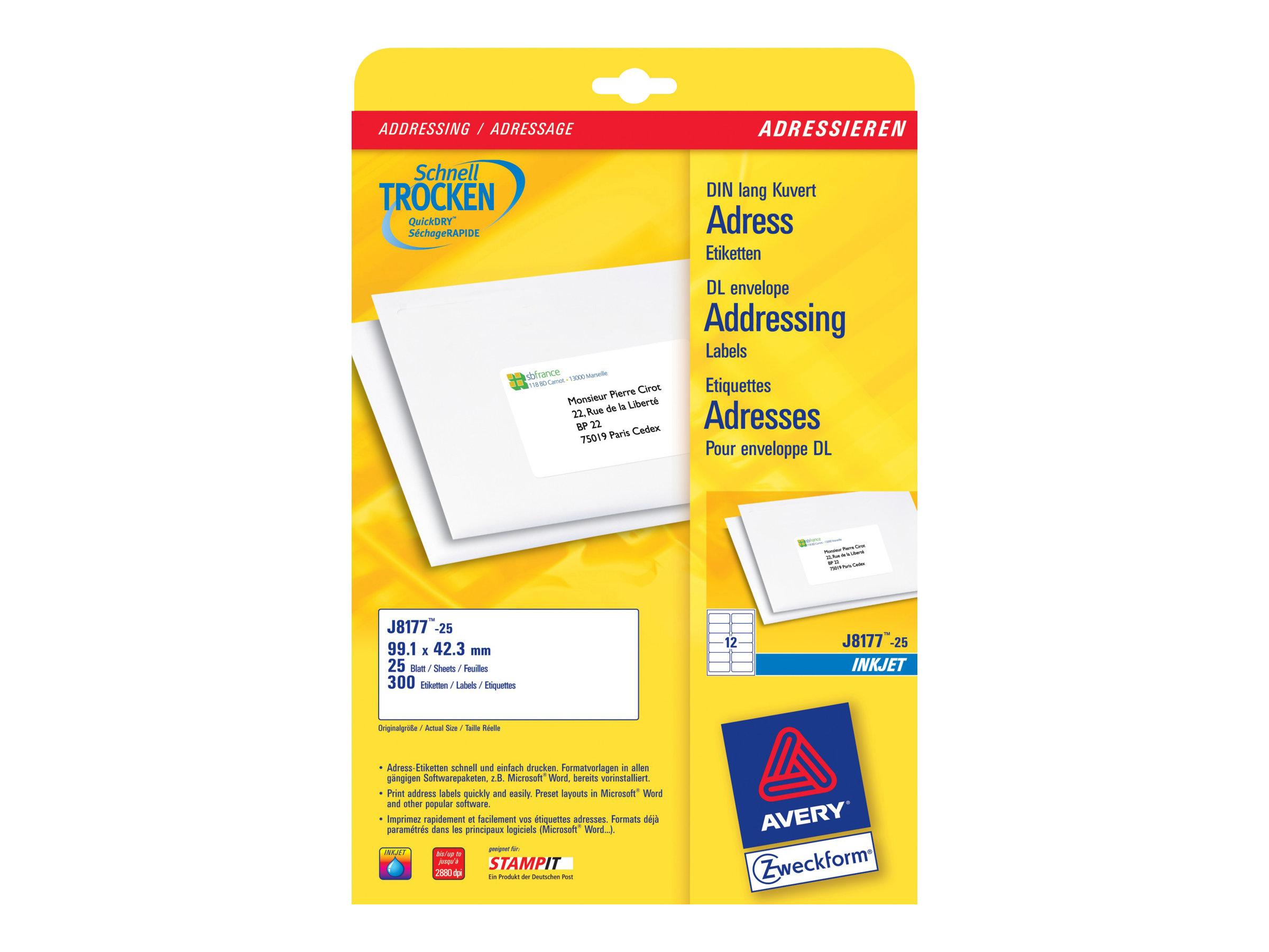 Avery Zweckform J8177 - Weiß - 42.3 x 99.1 mm 300 Etikett(en) (25 Bogen x 12) Adressetiketten