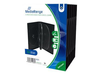 MEDIARANGE DVD Case - Medien-Aufbewahrungsbox - Kapazität: 5 DVD - Schwarz (Packung mit 5)