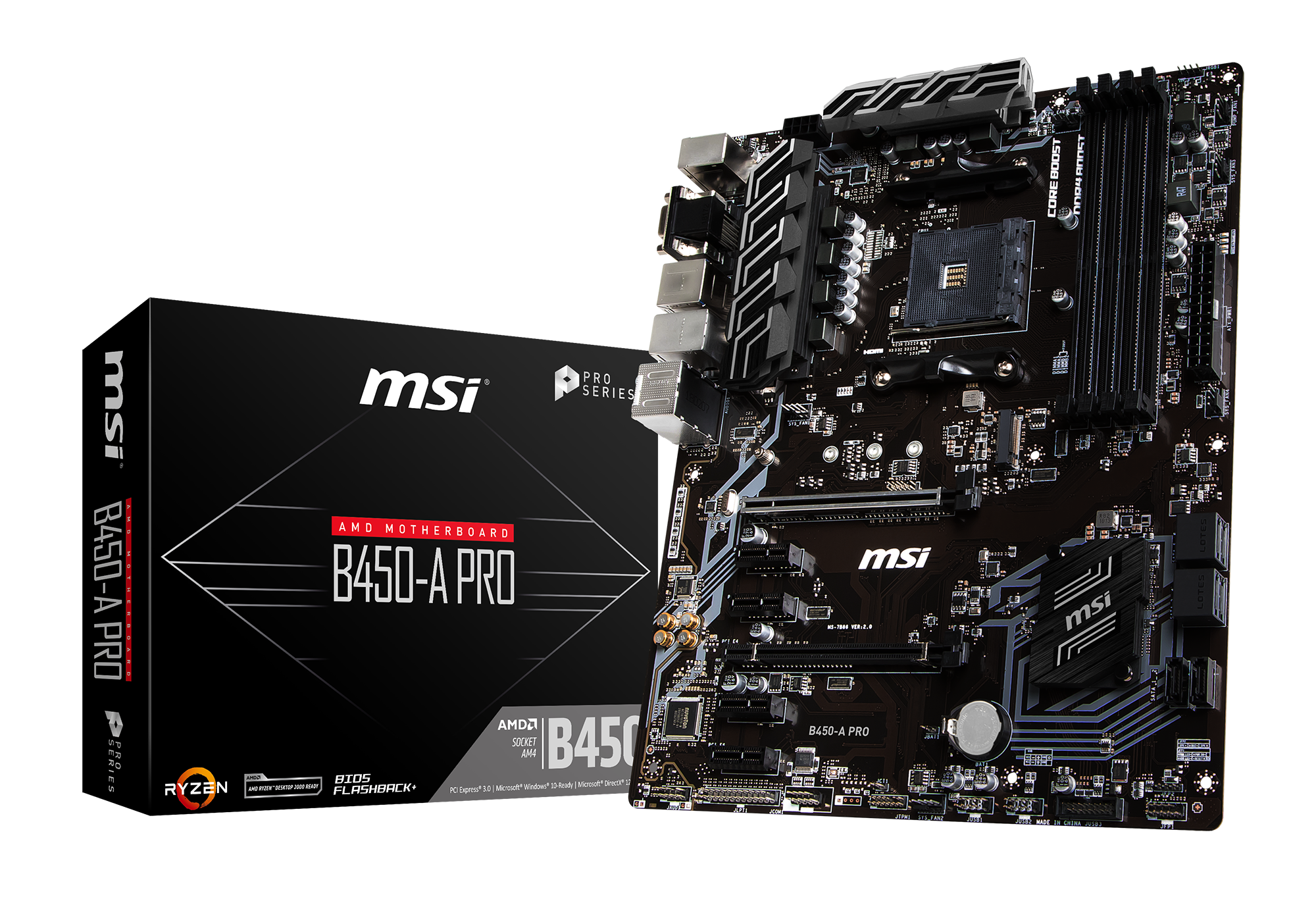 MSI B450-A PRO - Motherboard - ATX - Socket AM4 - AMD B450 - USB 3.1 - Gb LAN - Onboard-Grafik (CPU erforderlich) HD Audio (8-Kanal)