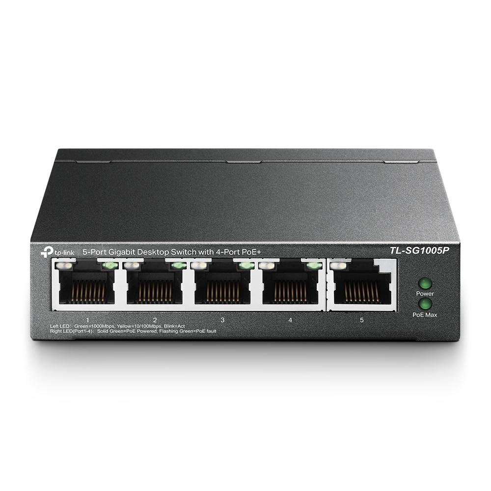 TP-LINK TL-SG1005P ungemanaged Gigabit Ethernet (10/100/1000) Energie Über Ethernet (PoE) Unterstützung Schwarz Netzwerk-Switch