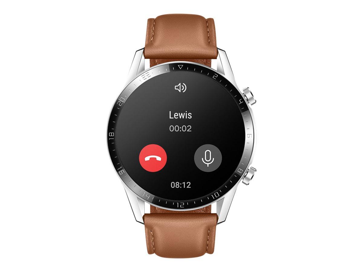 """Huawei Watch GT 2 - Classic - 46 mm - Edelstahl - intelligente Uhr mit Riemen - Leder - Pebble Brown - Handgelenkgröße: 140-210 mm - Anzeige 3.5 cm (1.39"""")"""