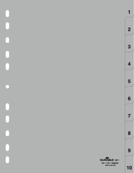 Durable 6511-10 - Numerischer Registerindex - Polypropylen (PP) - Grau - Porträt - A4 - 230 mm