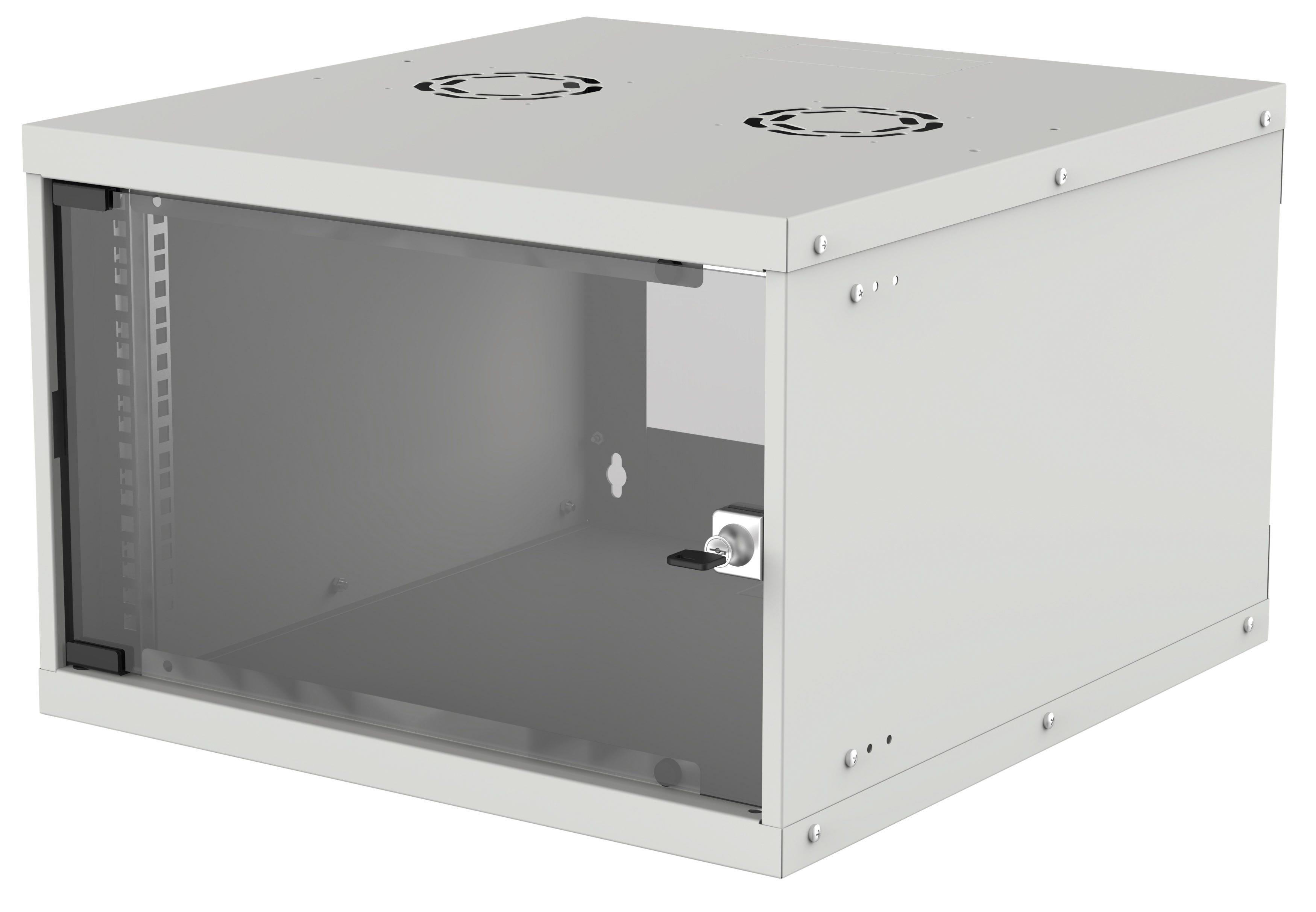 Intellinet 714792 - 6U - Wandmontiertes Regal - 50 kg - Grau - Galvanisiertes Stahl - Geschlossen