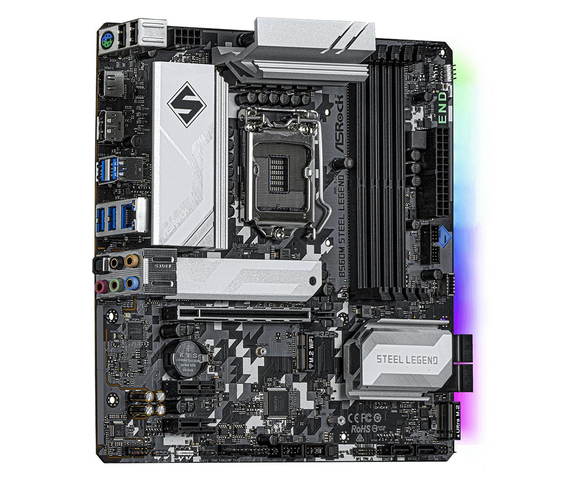 ASRock B560M Steel Legend - Motherboard - micro ATX - LGA1200-Sockel - B560 - USB 3.2 Gen 1, USB-C Gen 2x2 - 2.5 Gigabit LAN - Onboard-Grafik (CPU erforderlich)