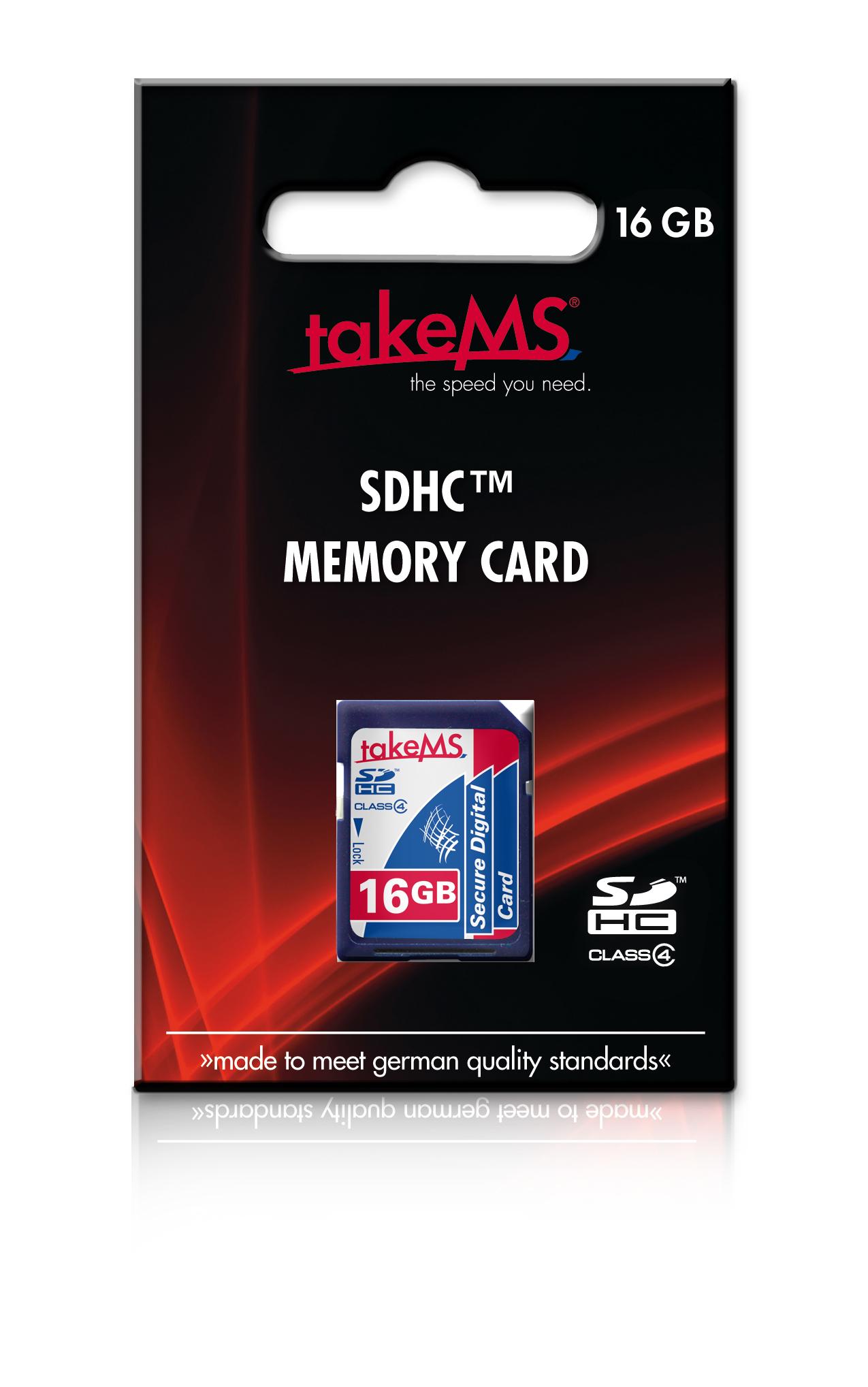 TakeMS SDHC 16GB - 16 GB - SDHC - Klasse 4 - 4 MB/s - 4 MB/s - Blau