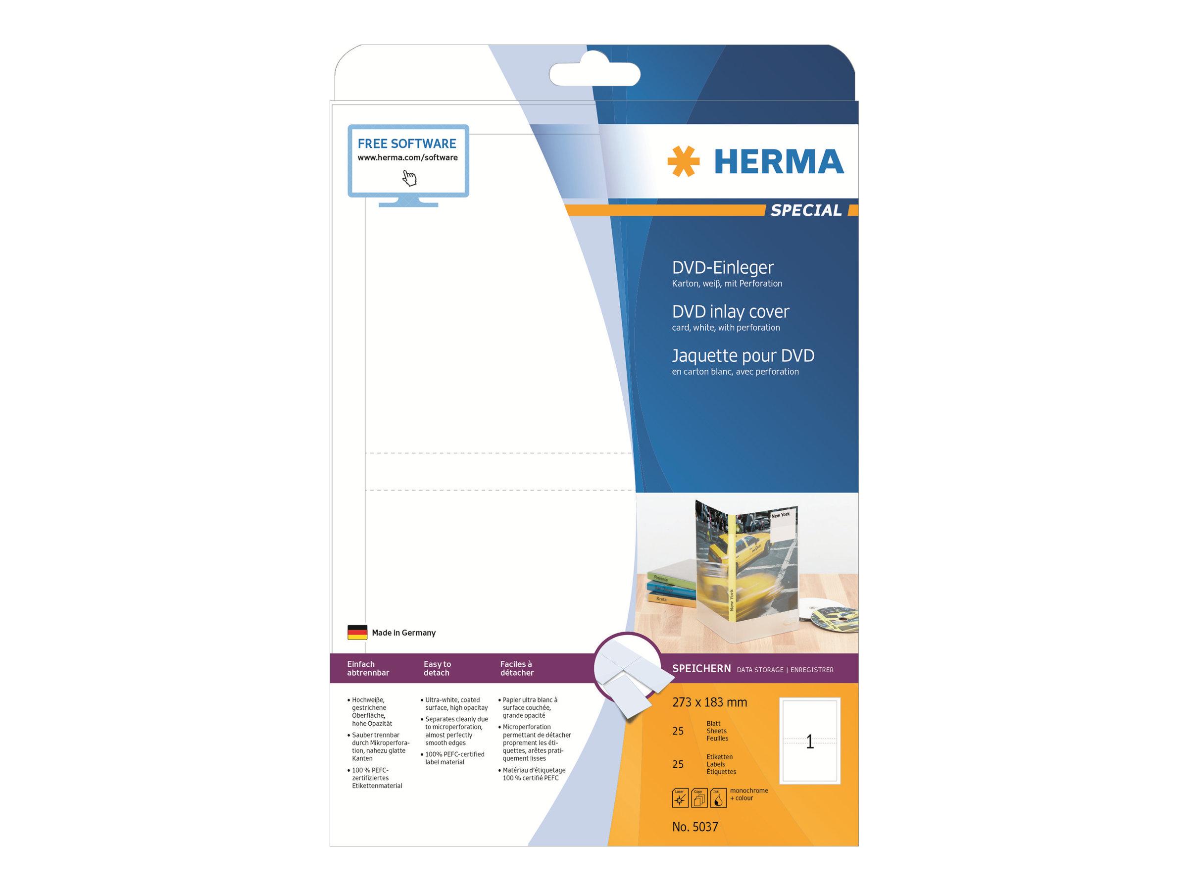 HERMA Special - Weiß - 183 x 273 mm 25 Stck. Einlagen für DVD-Hüllen