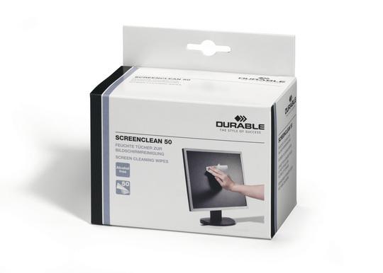 Durable 5787 - Gerätereinigungs-Feuchttücher - LCD / TFT / Plasma - Weiß - 50 Stück(e)