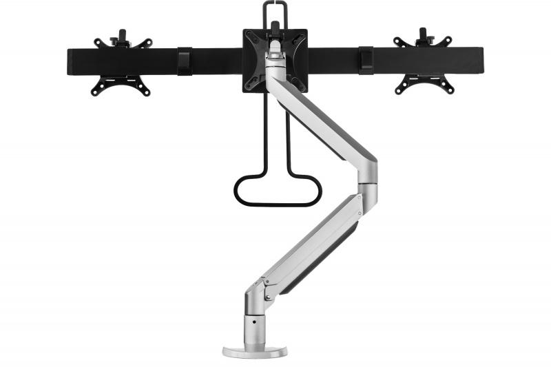 Bakker Premium Office Dual Beam - Klemme /Bolzen - 12 kg - 75 x 75 mm - 100 x 100 mm - Höhenverstellung - Schwarz - Silber