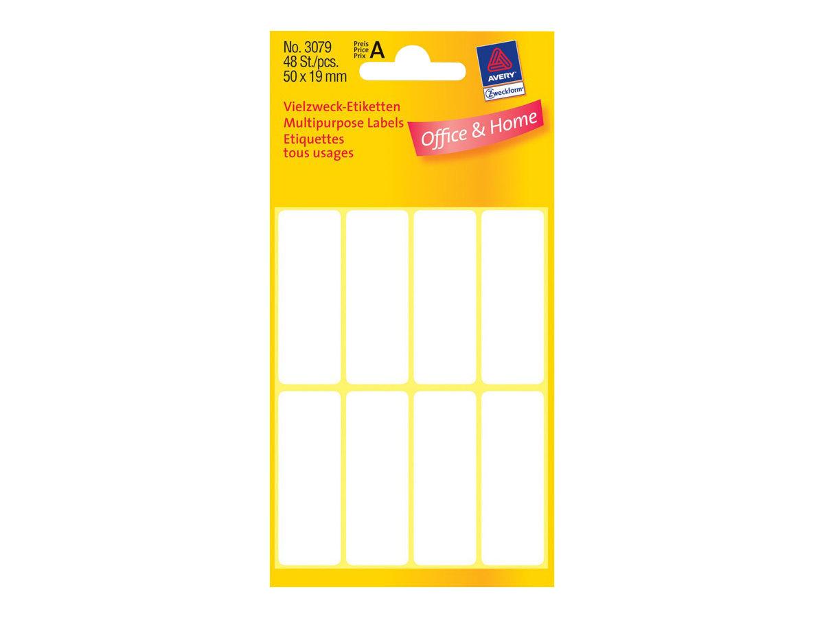 Avery Zweckform Weiß - 19 x 50 mm 48 Etikett(en) (6 Bogen x 8) Mehrzwecketiketten