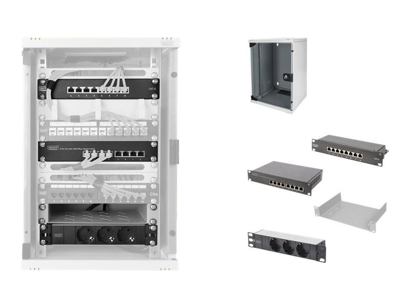 """DIGITUS Network Set - Gehäuse - mit Steckerleiste, Netzwerk-Switch, Patch-Panel - geeignet für Wandmontage - 9U - 25.4 cm (10"""")"""