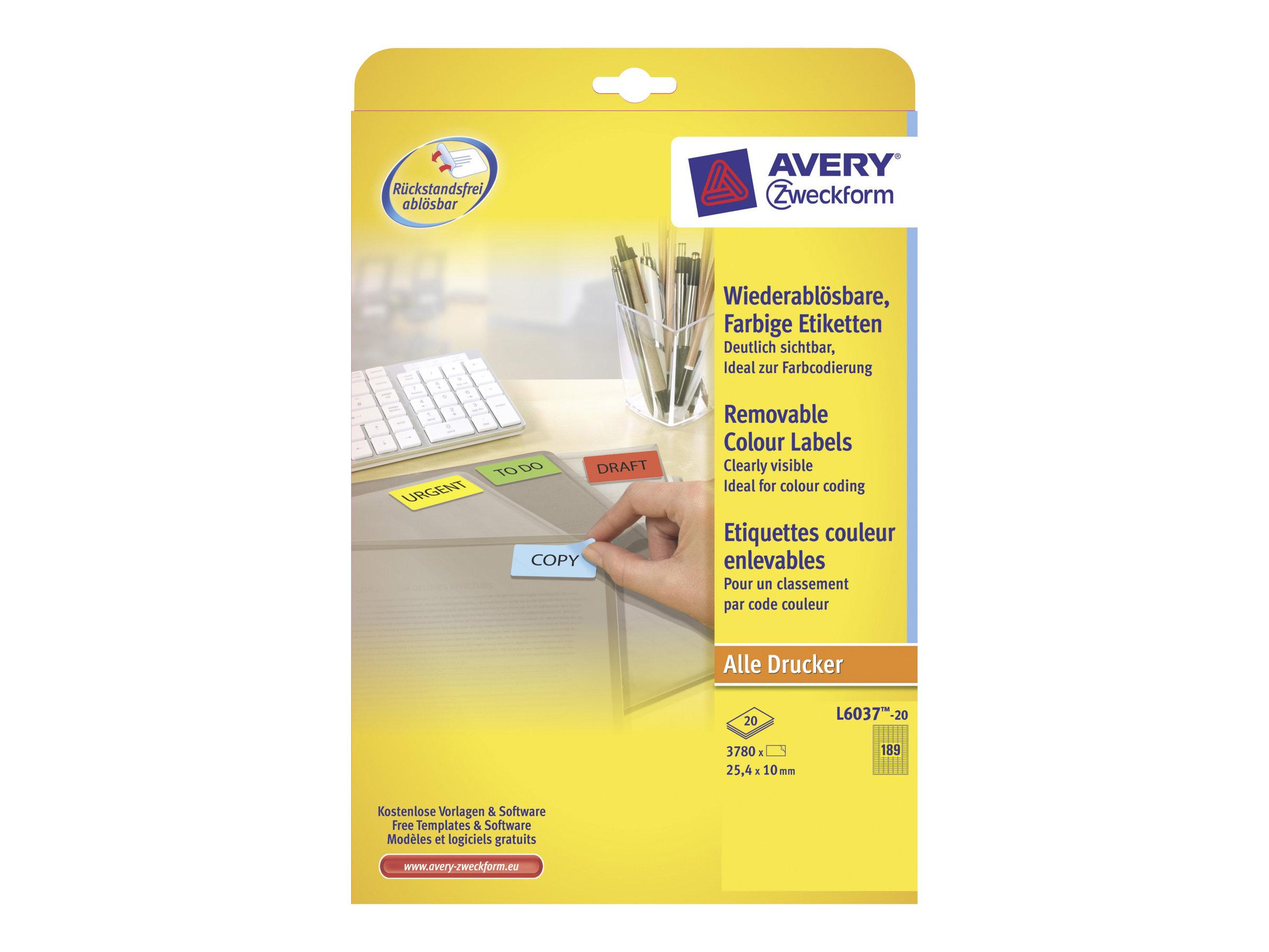 Avery Zweckform L6037 - Gelb - 10 x 25.4 mm 3780 Stck. (20 Bogen x 189) Etiketten