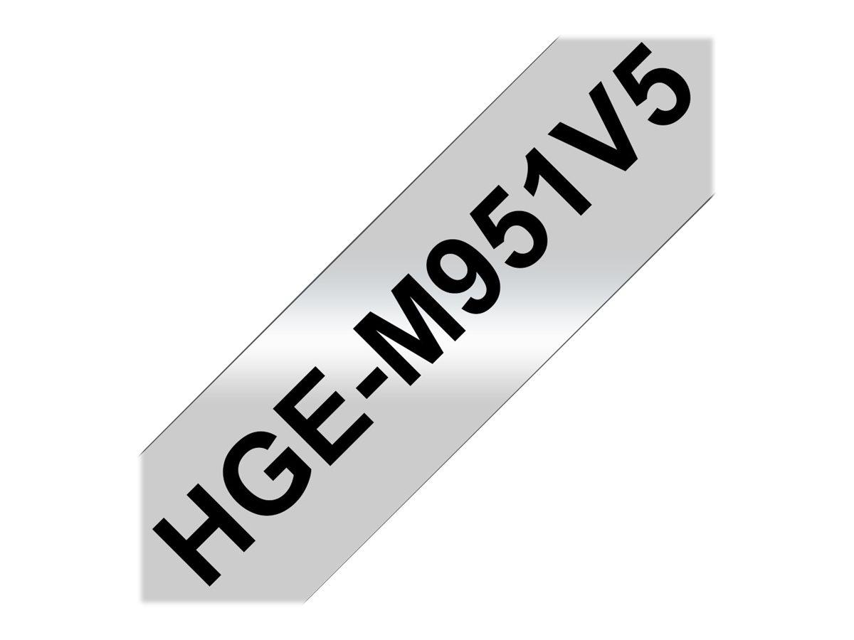 Brother HGEM951V5 - Schwarz auf Silber - Rolle (2,4 cm x 8 m)