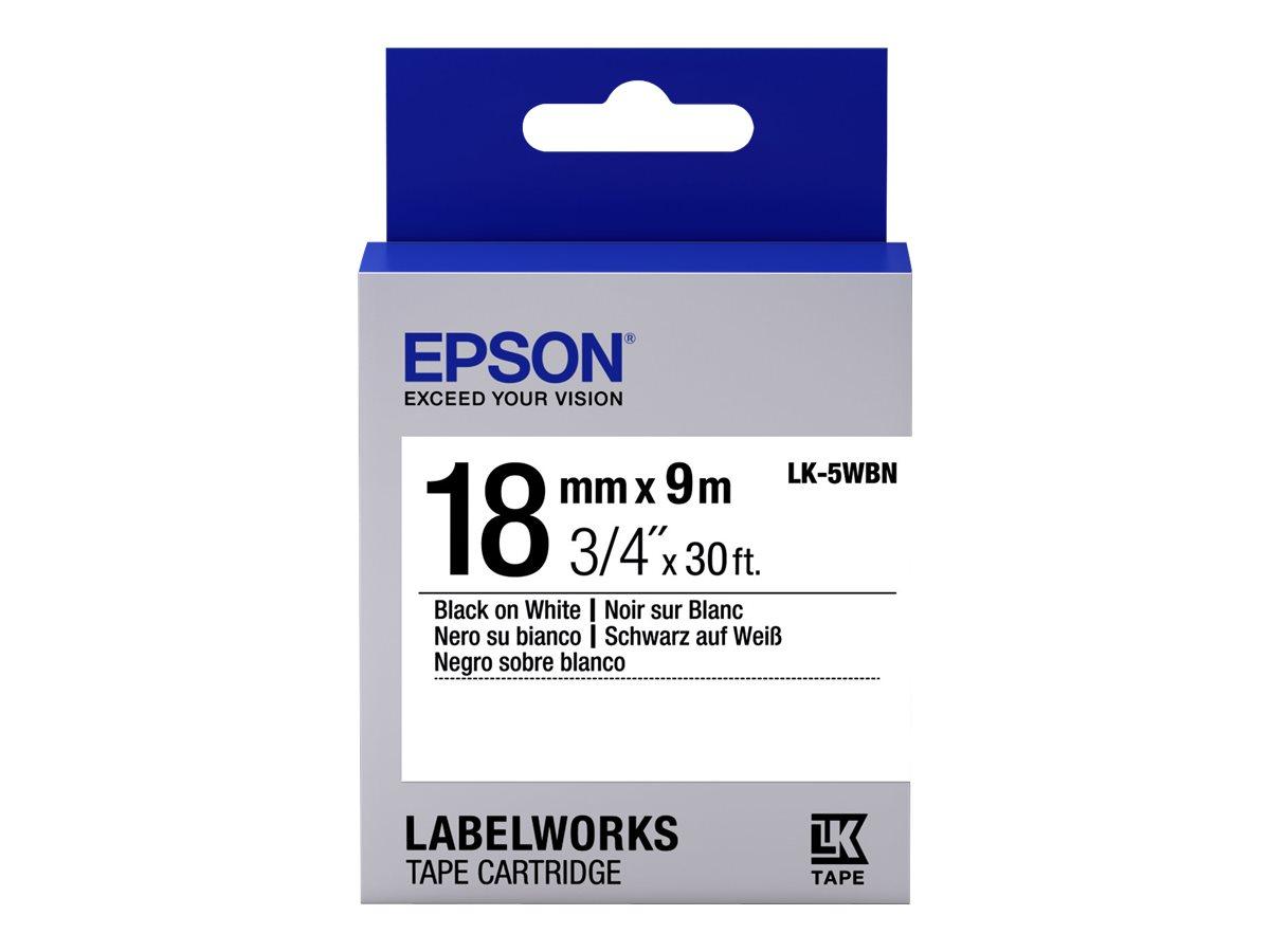 Epson LabelWorks LK-5WBN - Schwarz auf Weiß - Rolle (1,8 cm x 9 m)