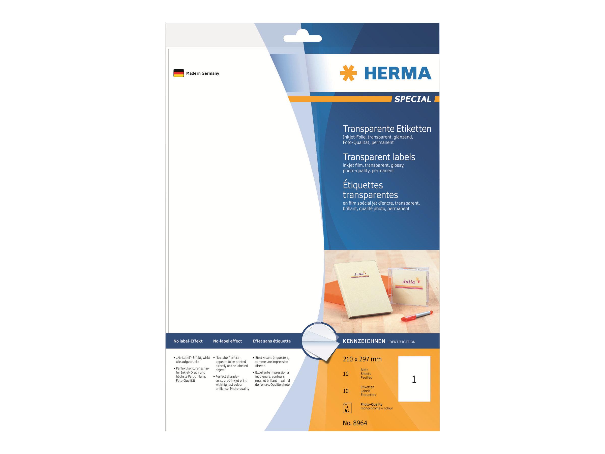 HERMA Special - Polyester - glänzend - permanent selbstklebend - durchsichtig - A4 (210 x 297 mm)