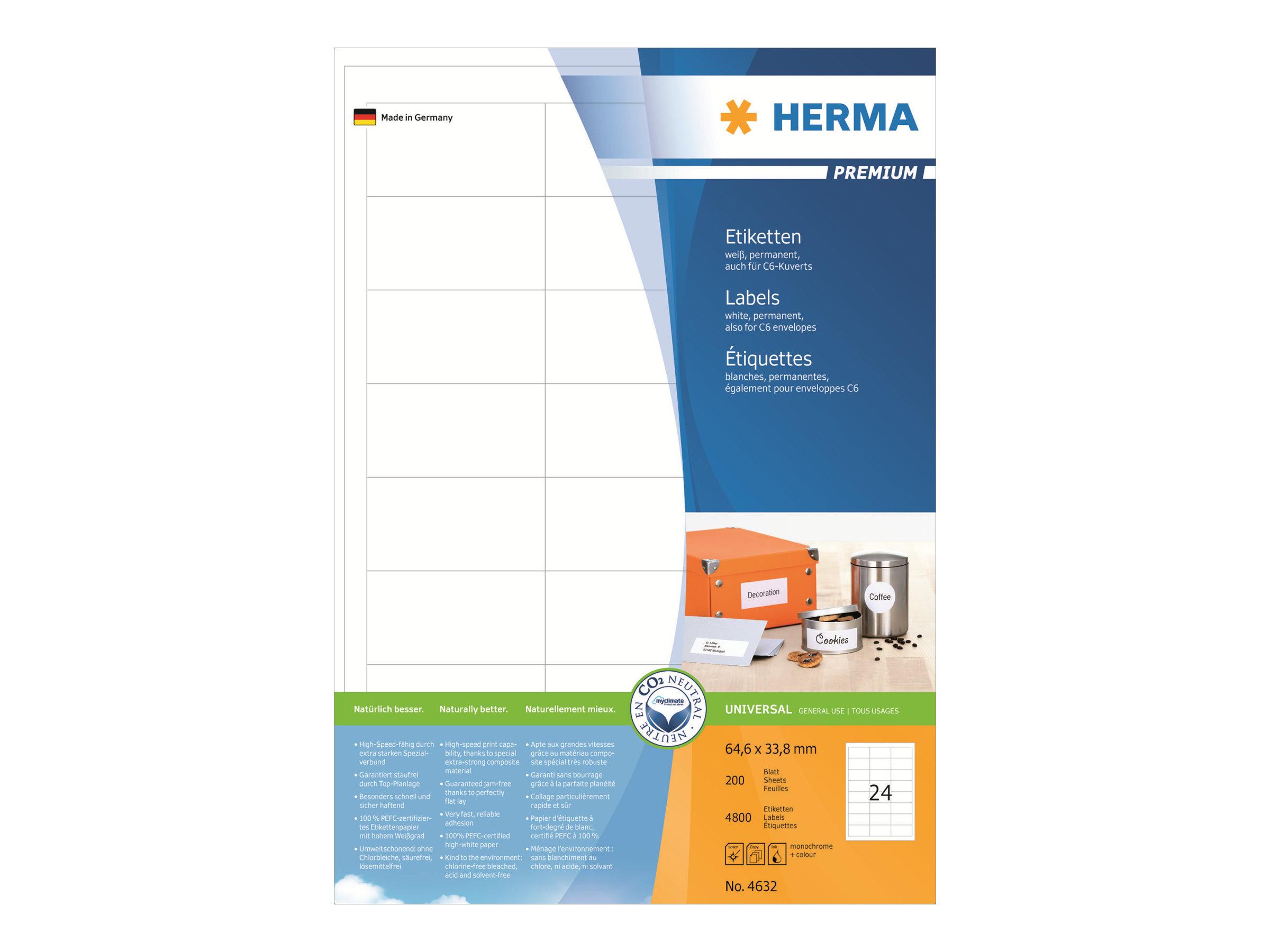 HERMA Premium - Papier - matt - permanent selbstklebend - weiß - 64.6 x 33.8 mm 4800 Etikett(en) (200 Bogen x 24)