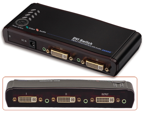 Lindy DVI & Audio HDTV Switch Remote 4 Port Schaltet komfort