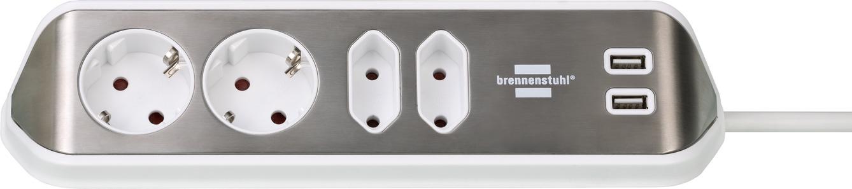 Brennenstuhl 1153590420 Tischsteckdose 1 Stück Silber Weiß Schutzkontakt 1 St. - Digital/Daten
