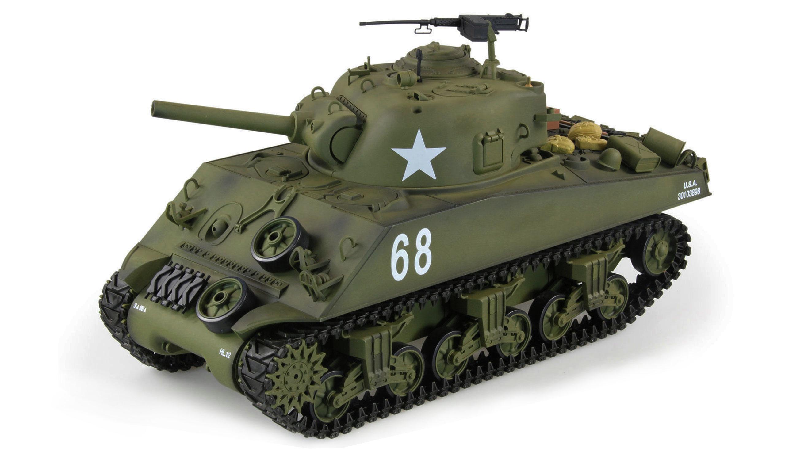 Vorschau: Amewi U.S. M4A3 Sherman - Funkgesteuerter (RC) Panzer - Elektromotor - 1:16 - Betriebsbereit (RTR) - Junge - 14 Jahr(e)
