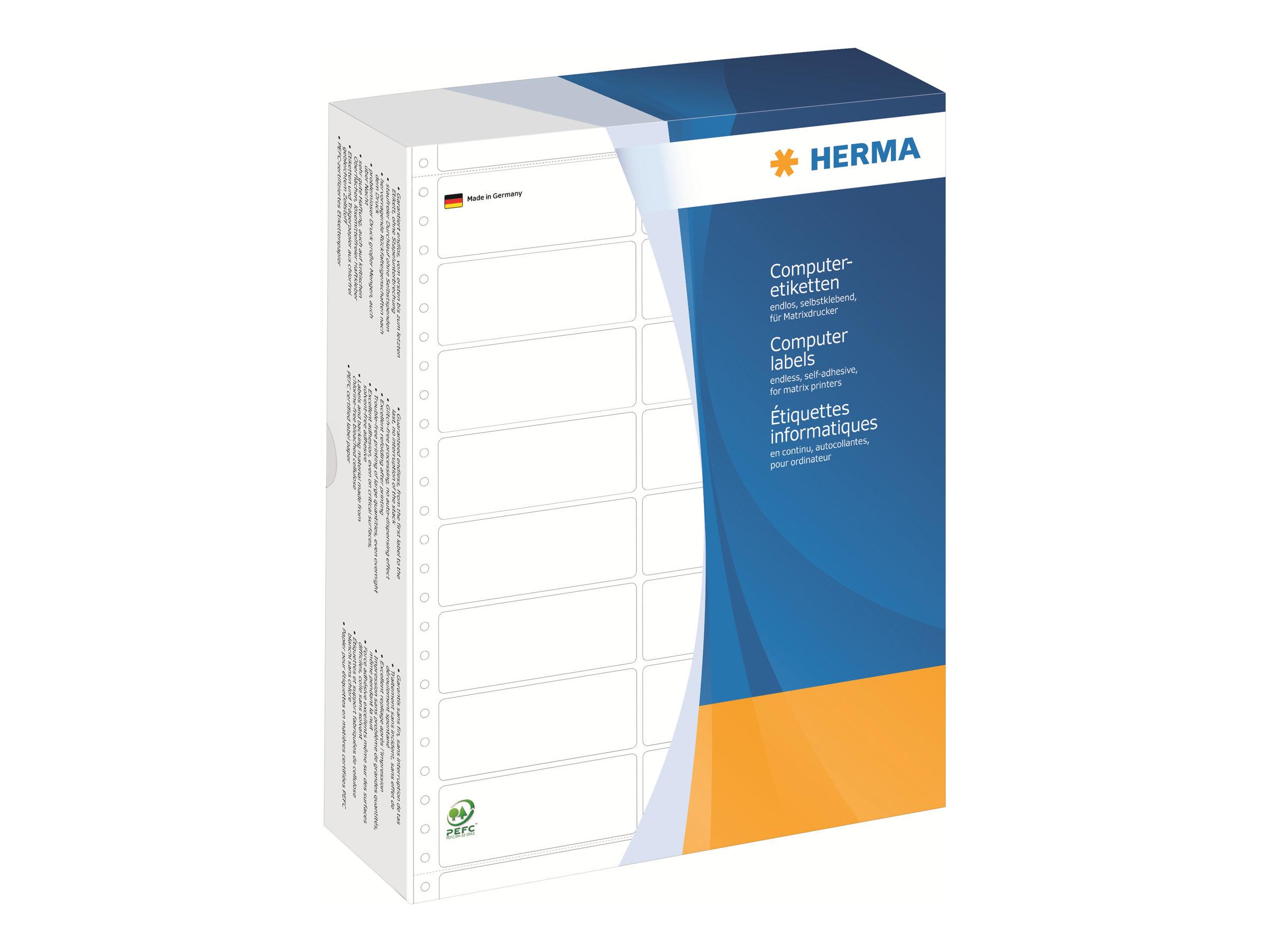 HERMA Computer labels - Papier - matt - permanent selbstklebend - perforiert - weiß - 101.6 x 35.7 mm 8000 Etikett(en) (2 Bogen x 4000)