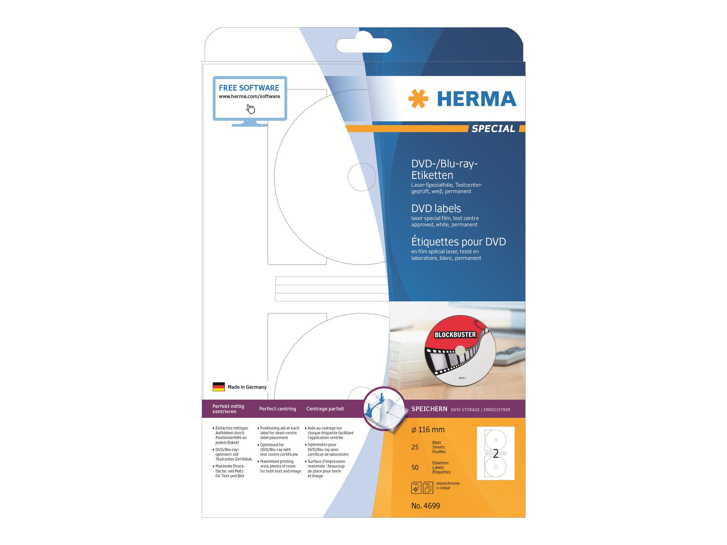 HERMA Special Maxi - Weiß - 116 mm rund 50 Etikett(en) (25 Bogen x 2) permanent selbstklebende, matte BD-/DVD-Etiketten aus Polyesterfolie