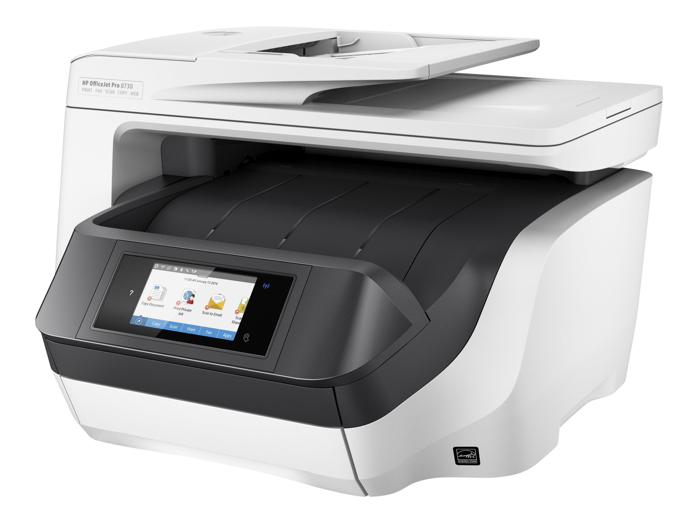 HP Officejet Pro 8730 All-in-One 4 in 1 - Multifunktionsdrucker (Farbe) - A4 - bis zu 36 S./Min. (Kopier.&Druck.) - 250 Bl. - USB 2.0, LAN, WLAN, NFC
