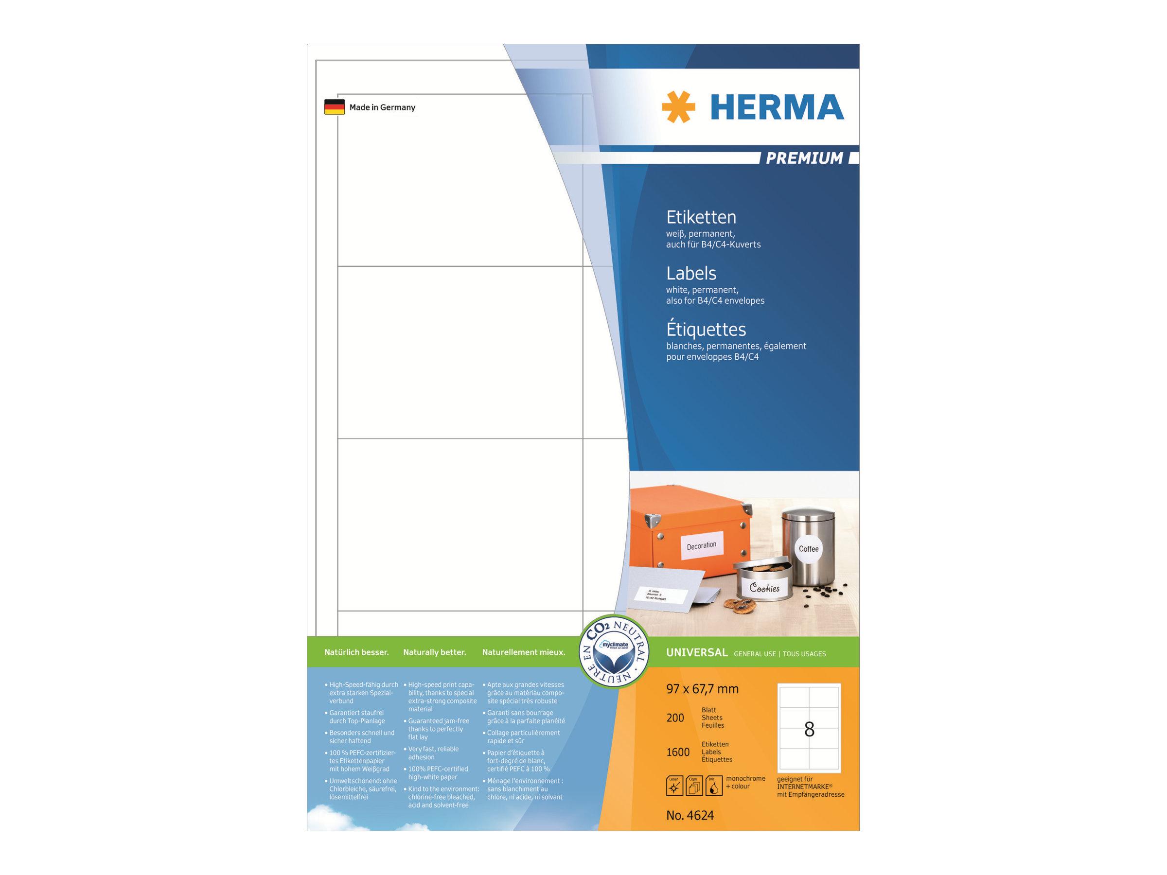 HERMA Premium - Papier - matt - permanent selbstklebend - weiß - 97 x 67.7 mm 1600 Etikett(en) (200 Bogen x 8)