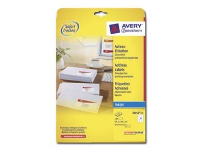 Vorschau: Avery Zweckform  Weiß - 63.5 x 38.1 mm 525 Etikett(en) (25 Bogen x 21) Adressetiketten