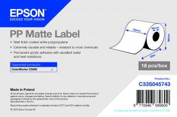 Epson C33S045743  Continuous label  Polypropylene (PP)  Acrylic  Permanent  Matte  7.6 cm
