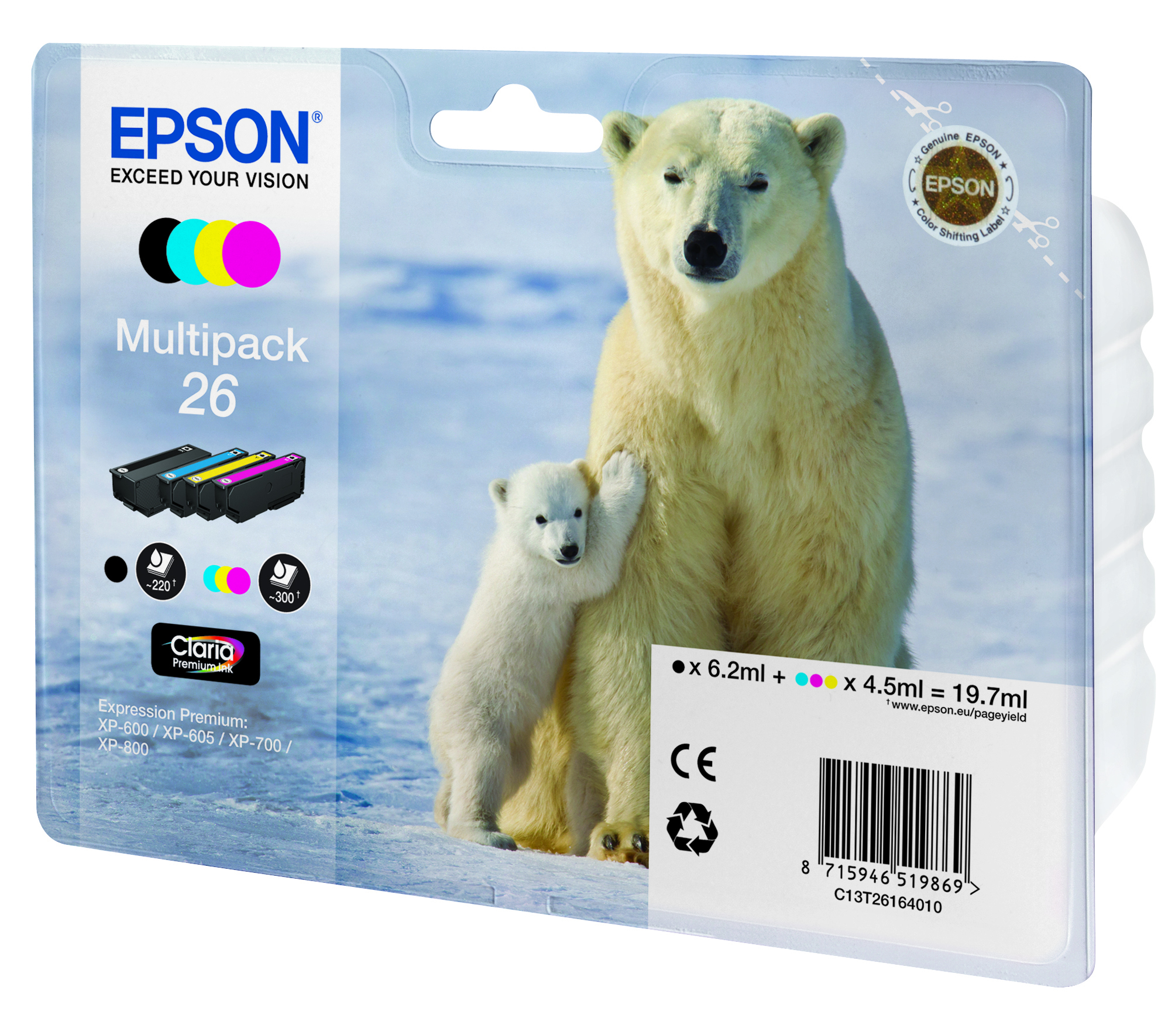 Epson-C13T26164020-Polar-bear-Multipack-4-colours-26-Claria-Premium-Ink thumbnail 2
