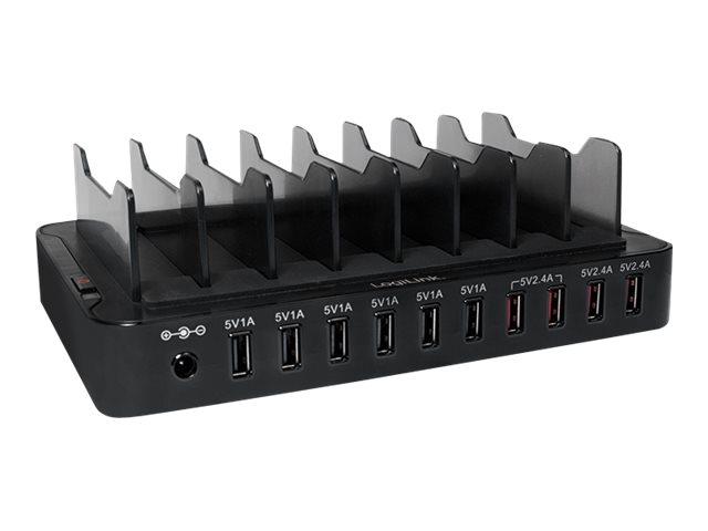 LogiLink Ladestation - 66 Watt - 13.2 A - 10 Ausgabeanschlussstellen (USB)