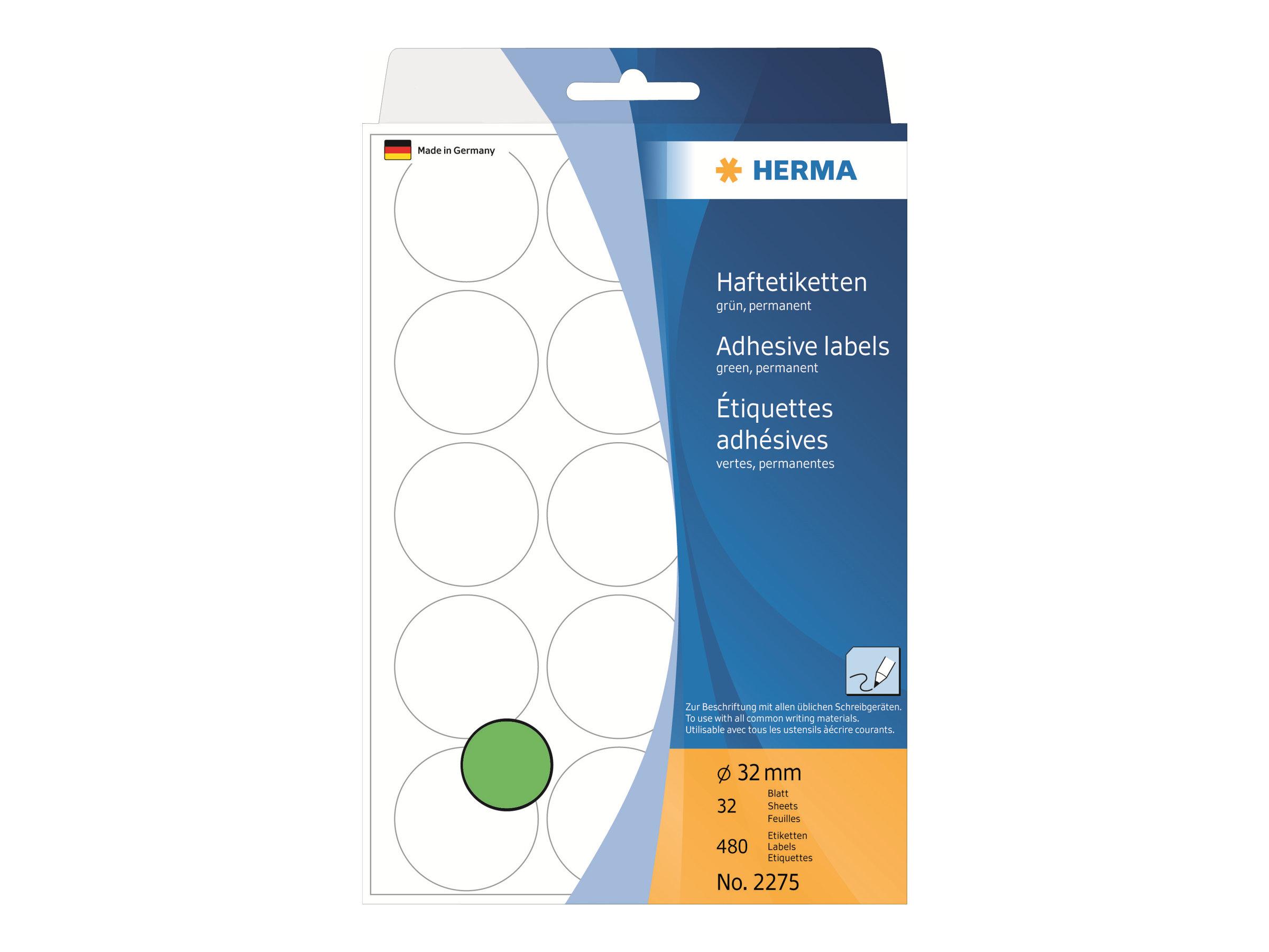 HERMA Papier - permanent selbstklebend - grün - 32 mm rund 480 Etikett(en) (32 Bogen x 15)