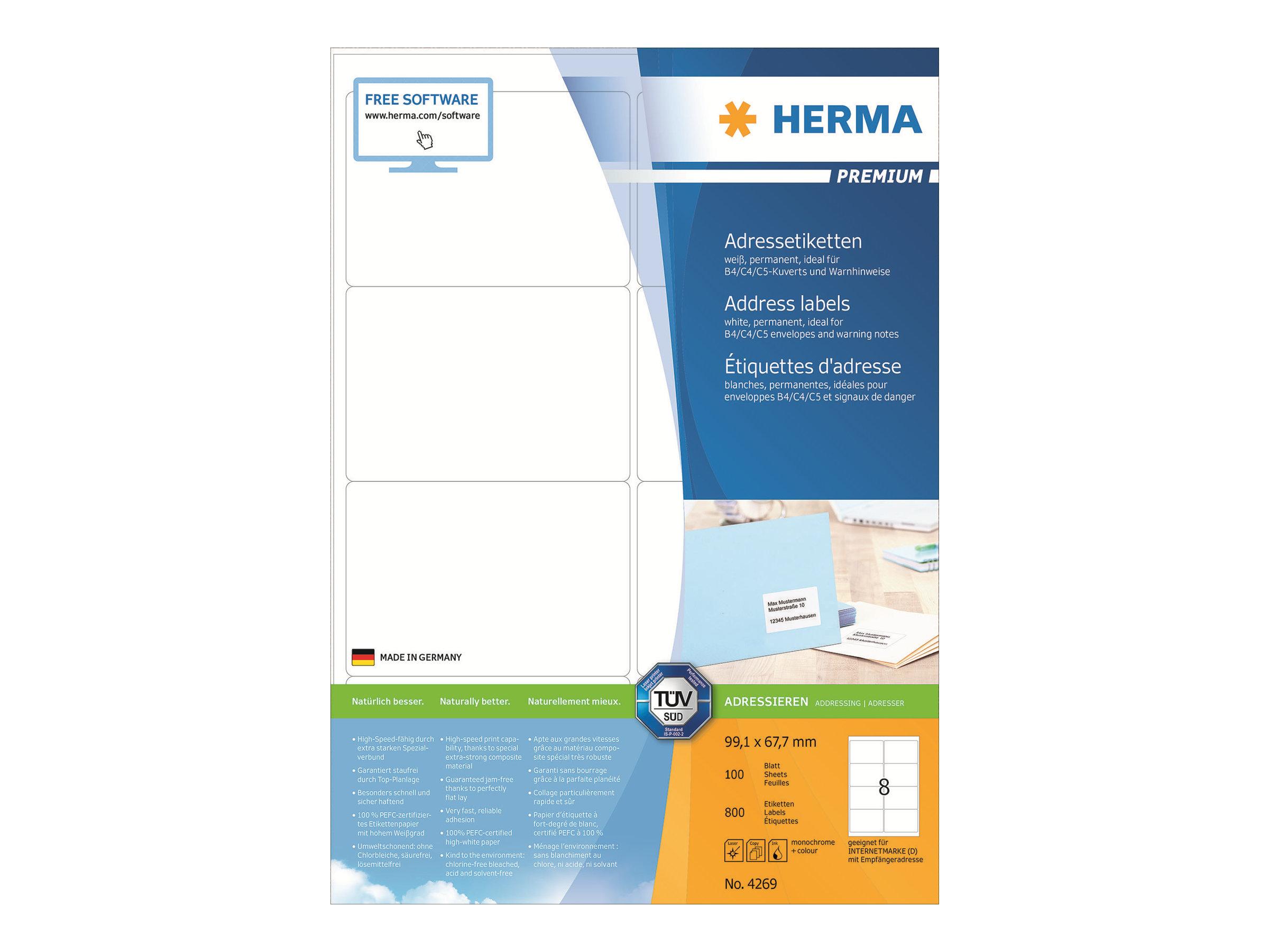 HERMA Premium - Papier - matt - permanent selbstklebend - weiß - 99.1 x 67.7 mm 800 Etikett(en) (100 Bogen x 8)