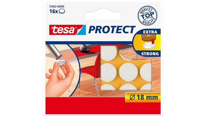 Tesa 57892-00 - Weiß - Filz - Rund - 1,8 cm - 16 Stück(e)
