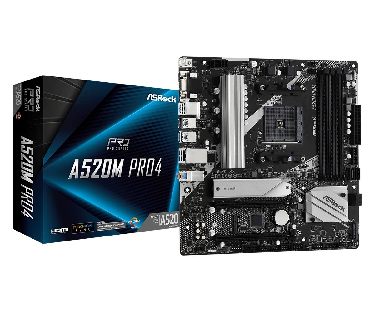 ASRock A520M Pro4 AMD Socket AM4 AMD Ryzen 3 3rd Gen 3rd Generation AMD Ryzen 5 3rd Generation AMD Ryzen 7 3rd Generation AMD... DDR4SDRAM DIM