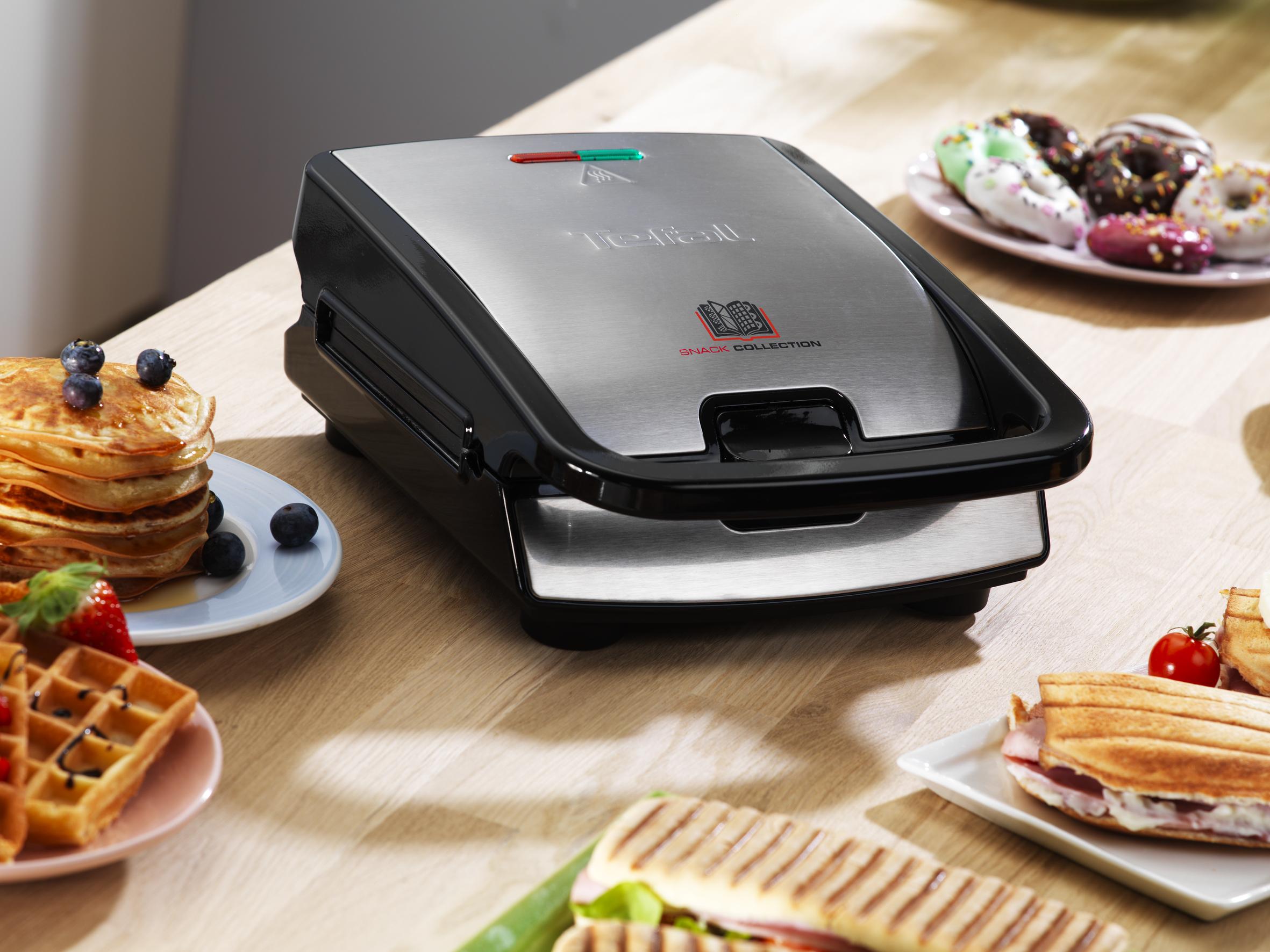 TEFAL-Snack-collection-Sandwich-maker-waffle-maker-700-W-black-stainle-SW852D miniatura 4