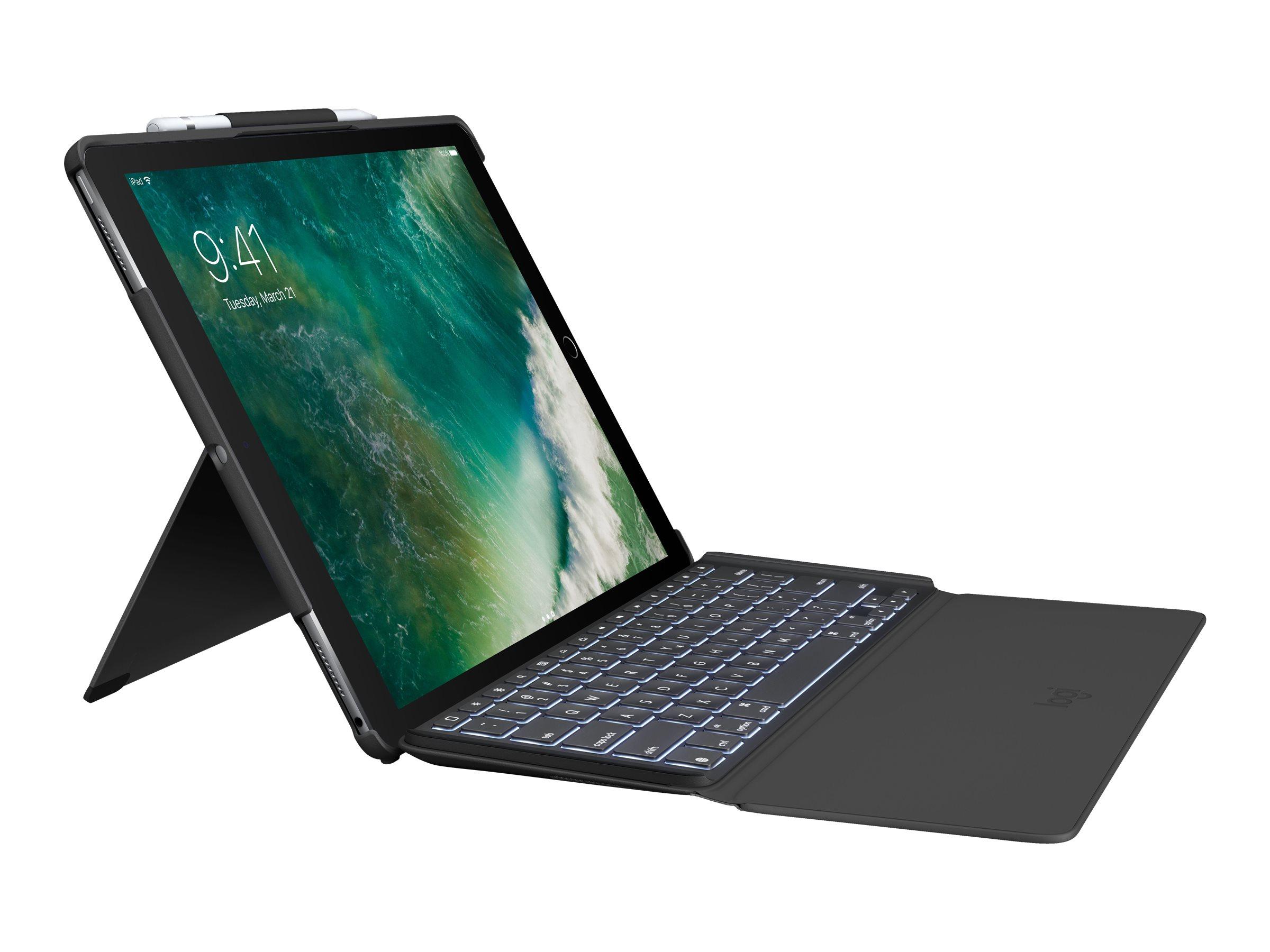 Logitech Slim Combo - Tastatur und Foliohülle - hinterleuchtet - Apple Smart connector - German QWERTZ - Schwarz - für Apple 12.9-inch iPad Pro (1. Generation, 2. Generation)