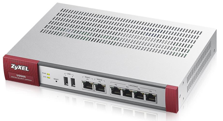 ZyXEL USG60 - 180 Mbit/s - 3.0 A - 19 W - 0 - 40 °C - -30 - 70 °C - 10 - 90%