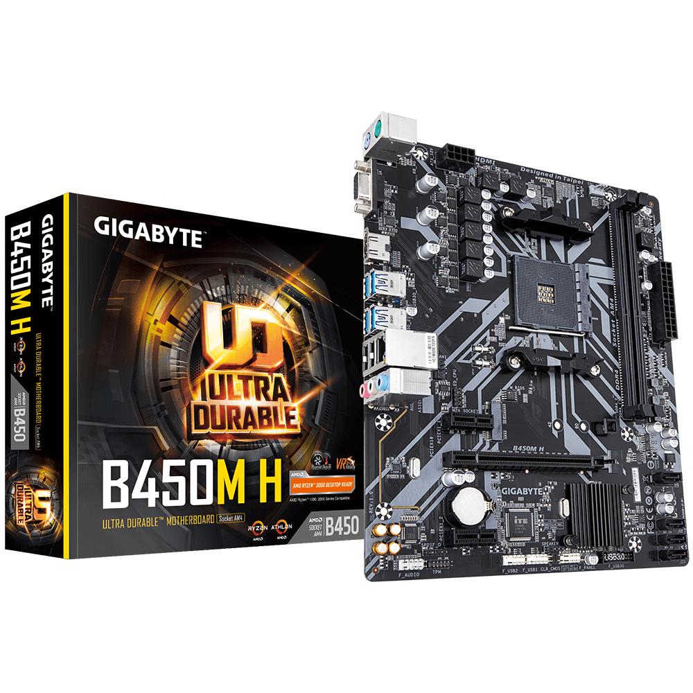 Vorschau: Gigabyte B450M H - AMD - Socket AM4 - AMD Athlon - AMD Ryzen 3 - 2nd Generation AMD Ryzen™ 3 - AMD Ryzen 3 3rd Gen - AMD Ryzen 5 - 2nd... - DDR4-SDRAM - DIMM - 2133,2400,2667,2933,3466,3600 MHz