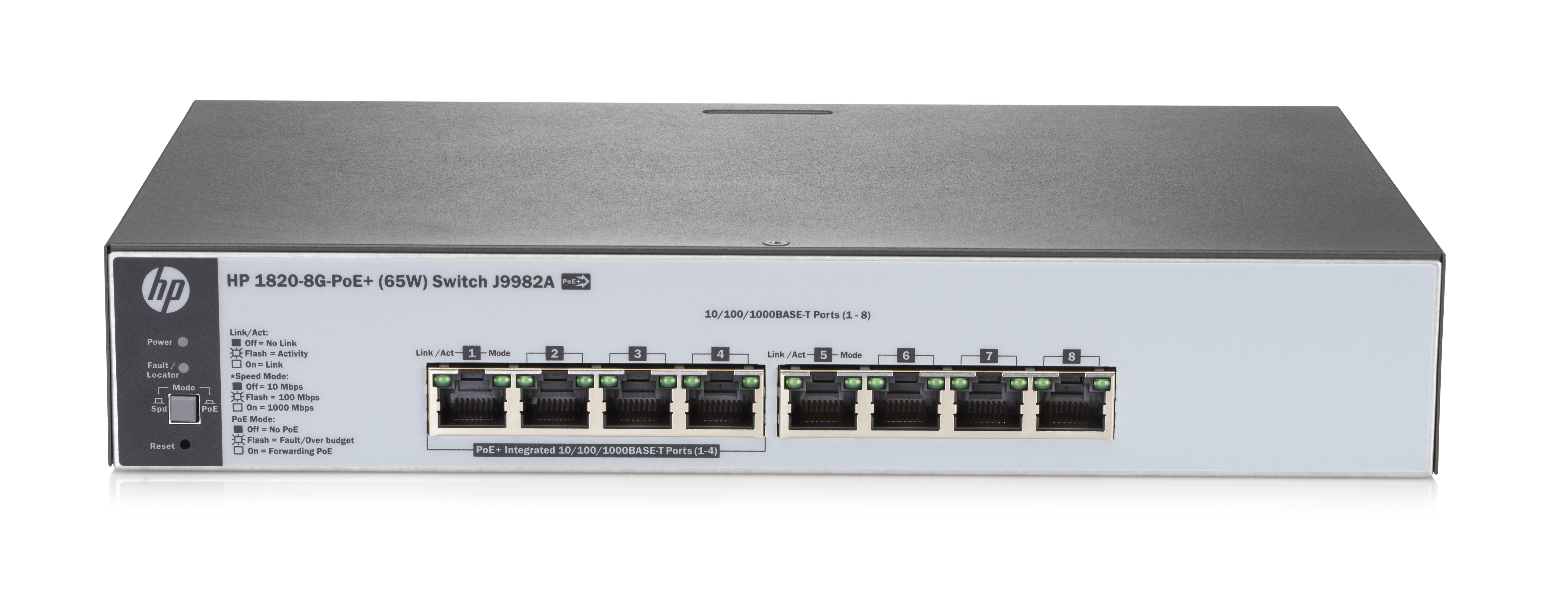 HP Enterprise 1820-8G-PoE+ (65W) - Managed - L2 - Gigabit Ethernet (10/100/1000) - Power over Ethernet (PoE) - Rack-Einbau - 1U