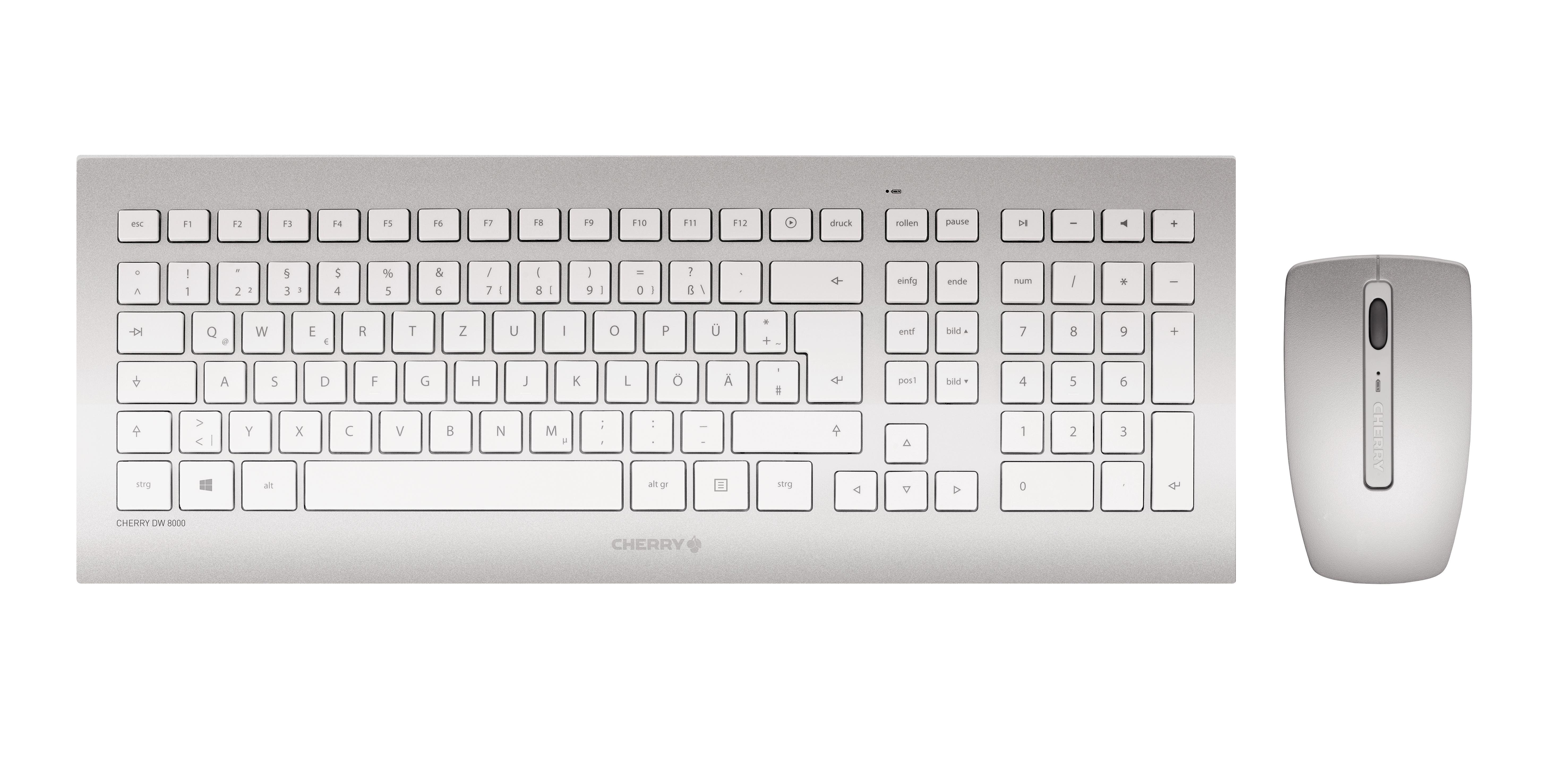 Cherry DW 8000 RF Wireless AZERTY Französisch Silber - Weiß Tastatur