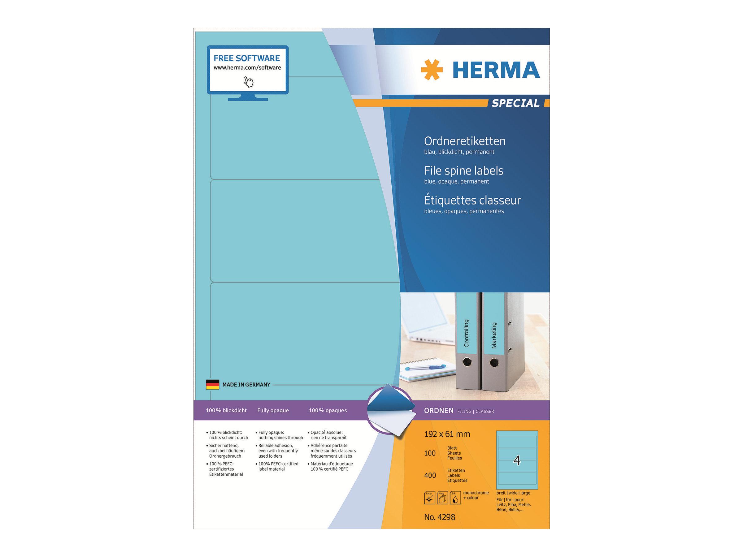 HERMA Special - Papier - matt - permanent selbstklebend - Blau - 192 x 61 mm 400 Etikett(en) (100 Bogen x 4)