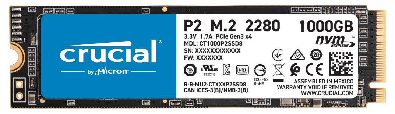 Crucial P2 - 1 TB SSD - intern - M.2 2280 - PCI Express 3.0 x4 (NVMe)