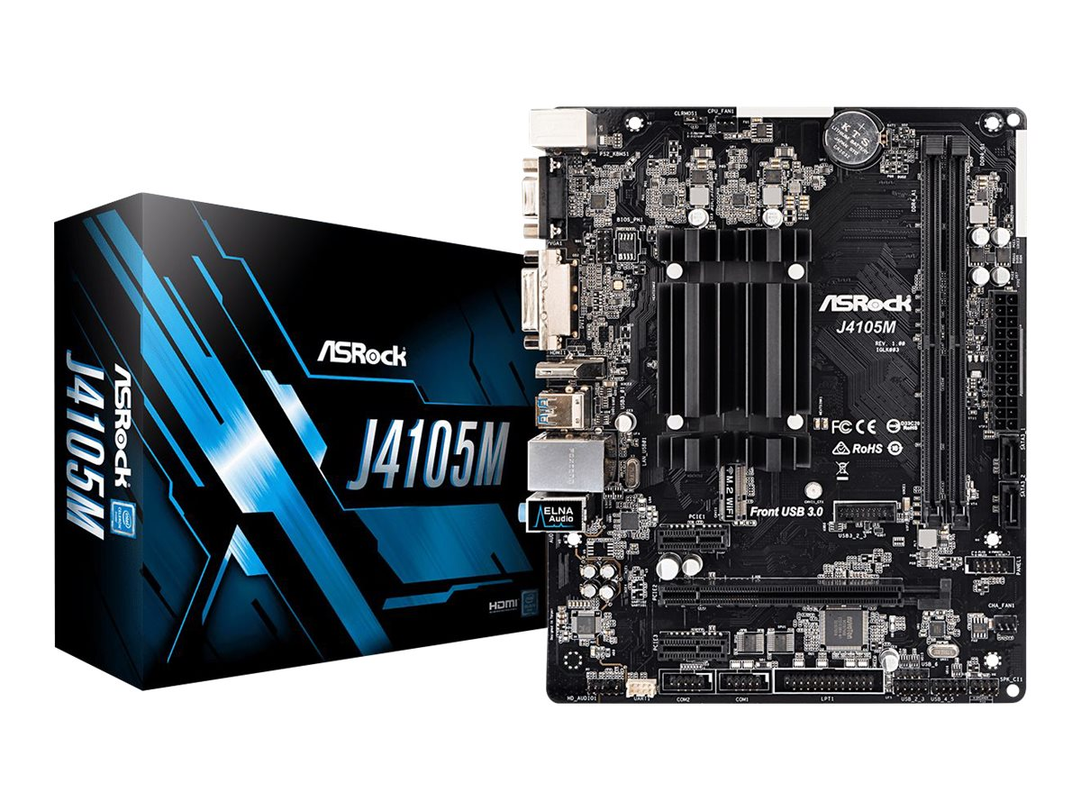 ASRock J4105M - Motherboard - micro ATX - Intel Celeron J4105 - USB 3.1 Gen 1 - Gigabit LAN - Onboard-Grafik - HD Audio (8-Kanal)