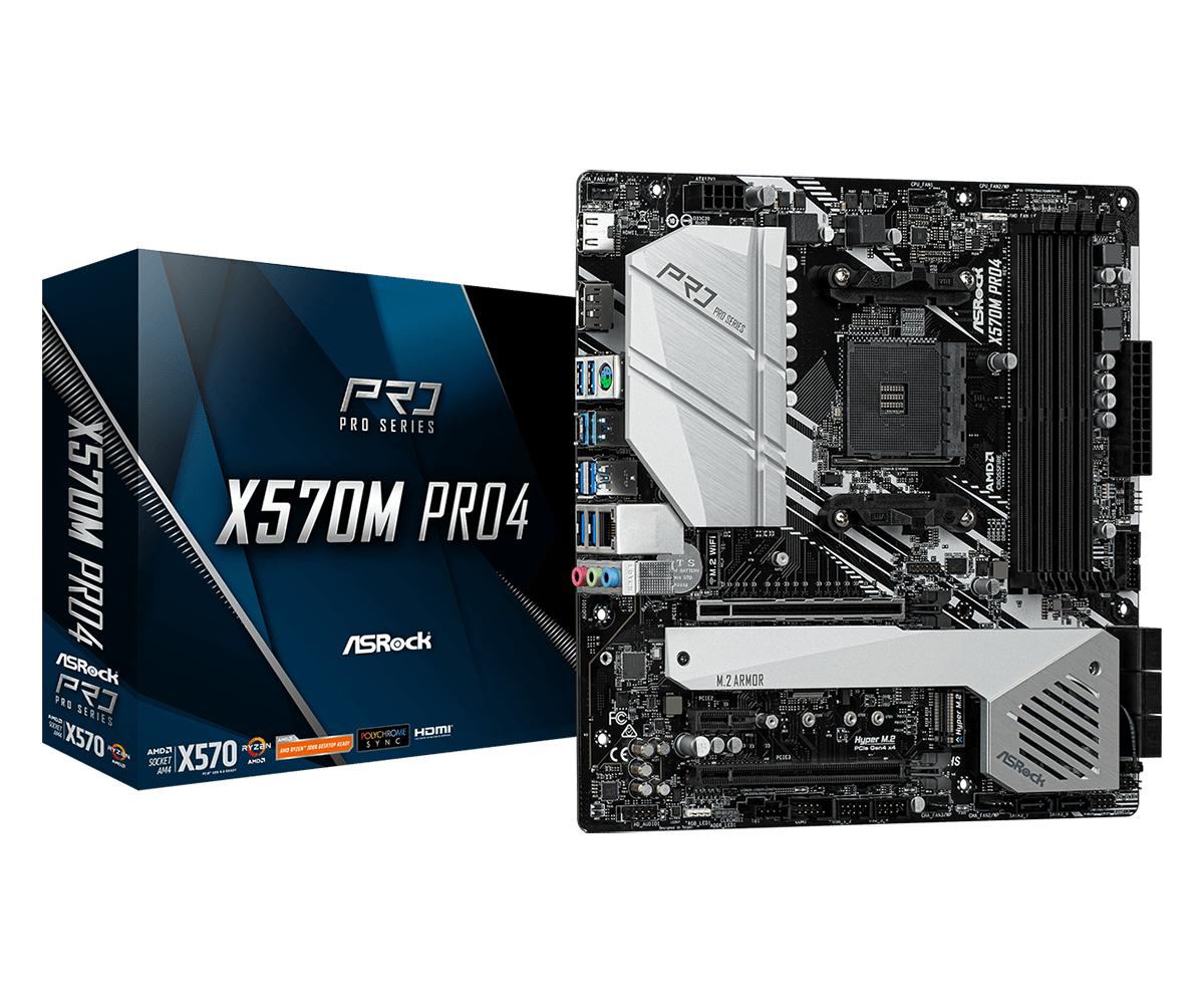 ASRock X570M Pro4 - AMD - Socket AM4 - AMD Ryzen - DDR4-SDRAM - DIMM - 2133,2400,2667,2933,3200,3466,3600,3733,3800,3866,4000,4133,4200 MHz